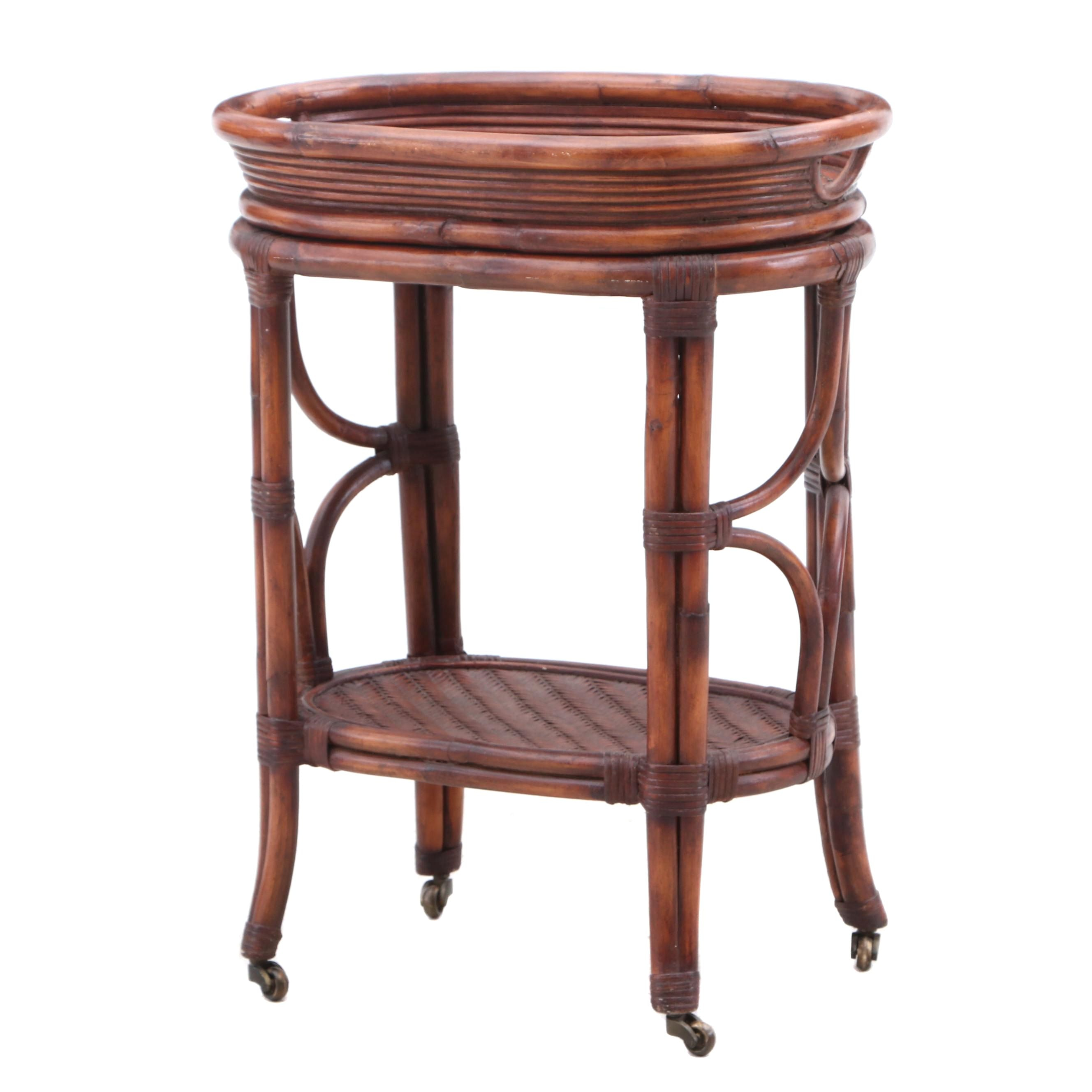 Bamboo Tray Top Bar Cart on Casters