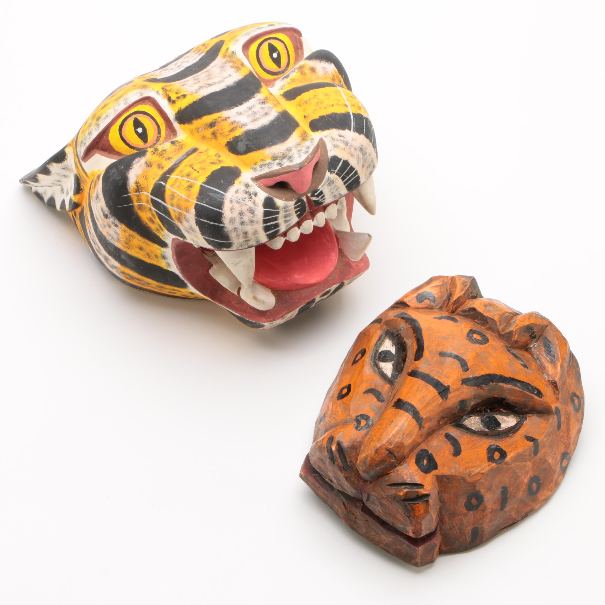 Painted Wooden Leopard Wall Hangings