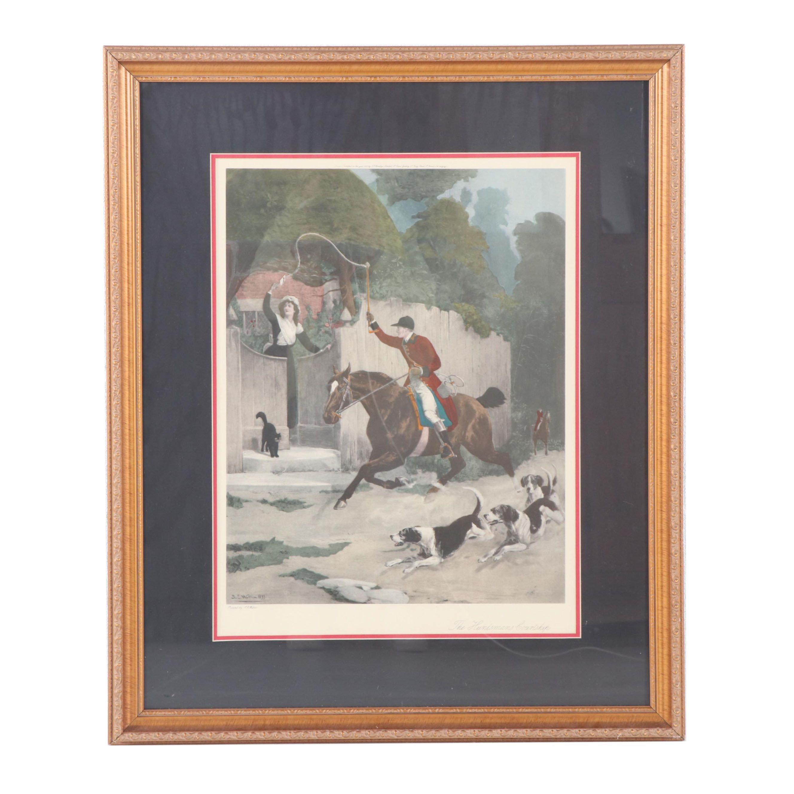 """Offset Lithograph after Samuel Edmund Waller """"The Huntsman's Courtship"""""""