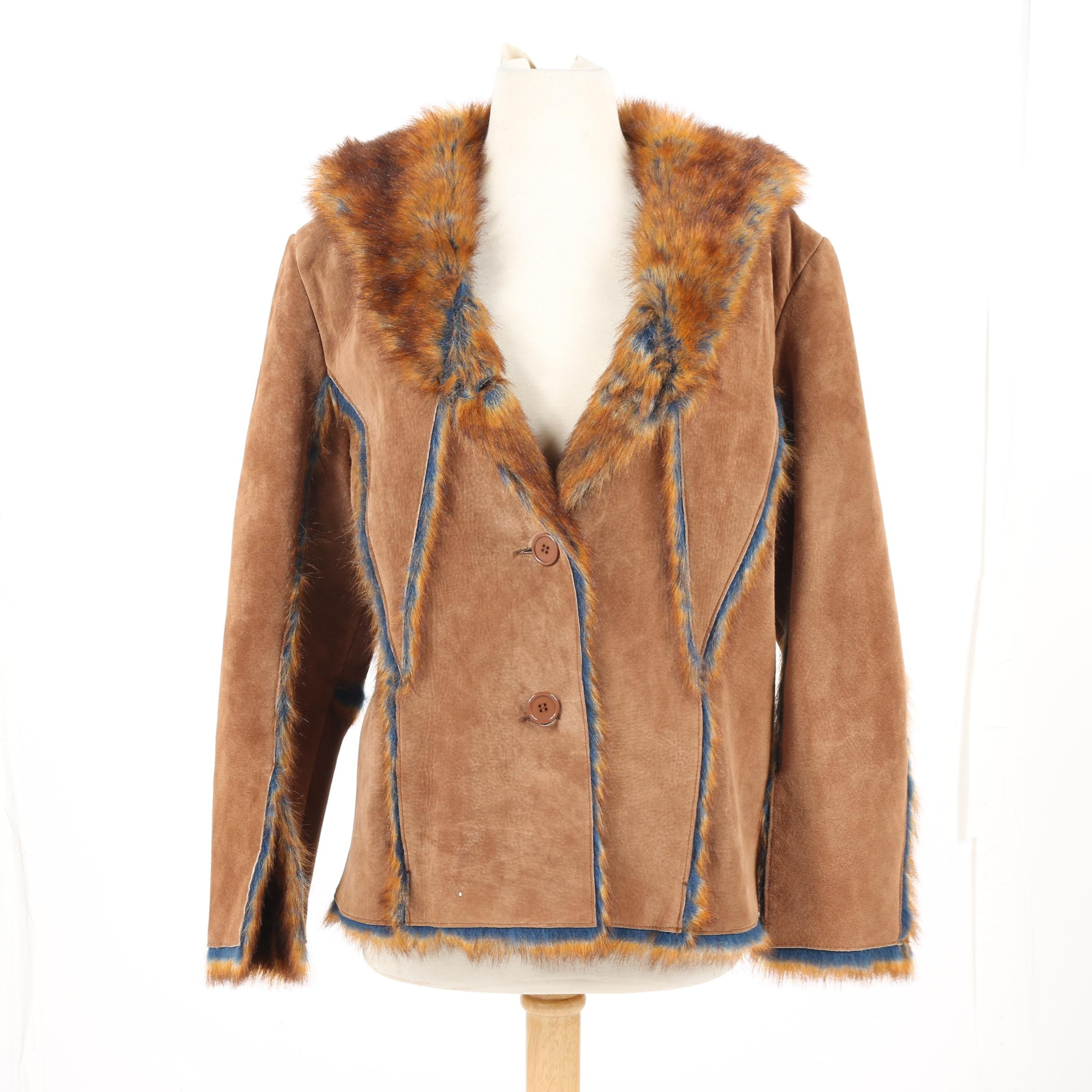 Women's The Look by Randolph Duke Brown Suede Jacket with Faux Fur Lining