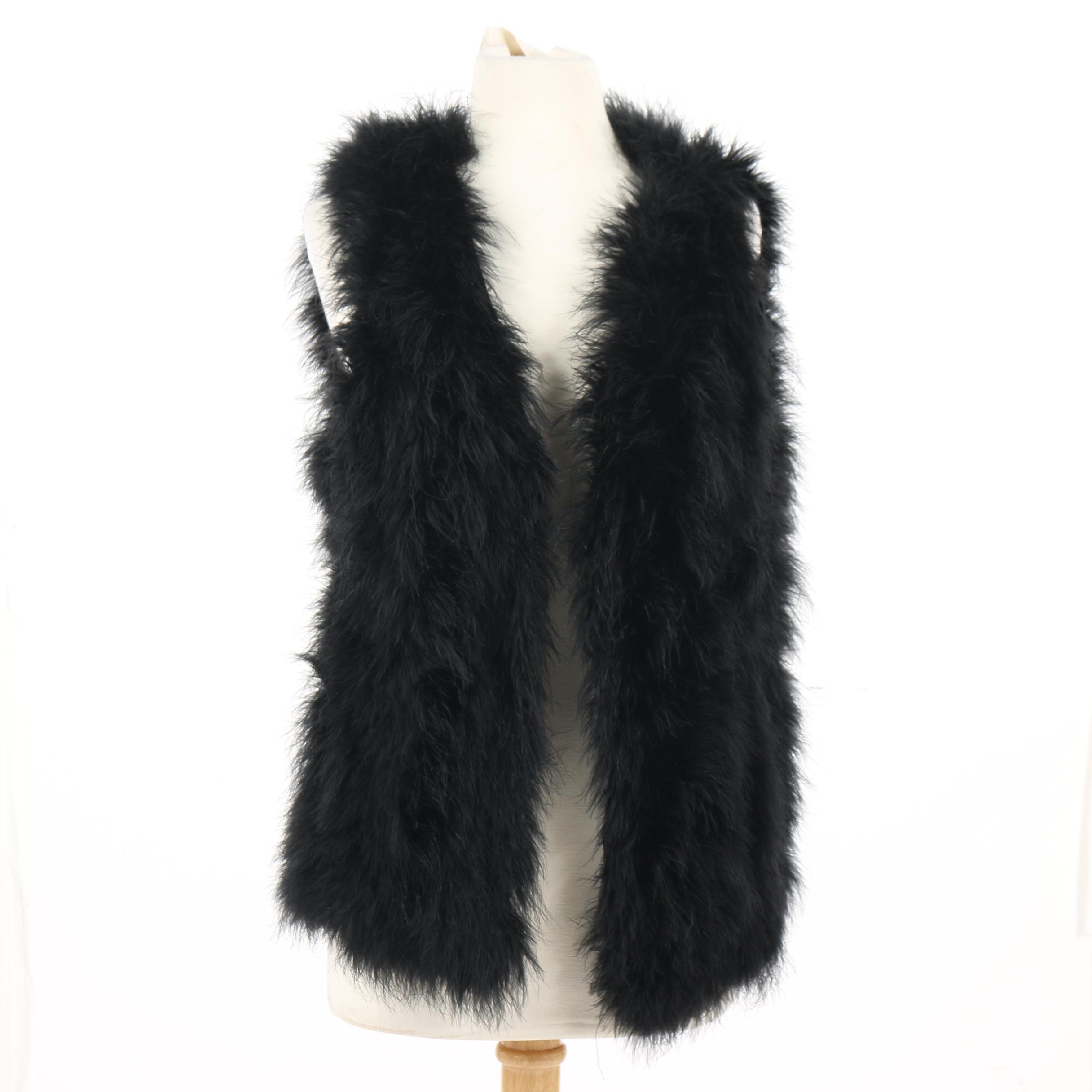 Women's Generation Love Black Marabou Feather Vest