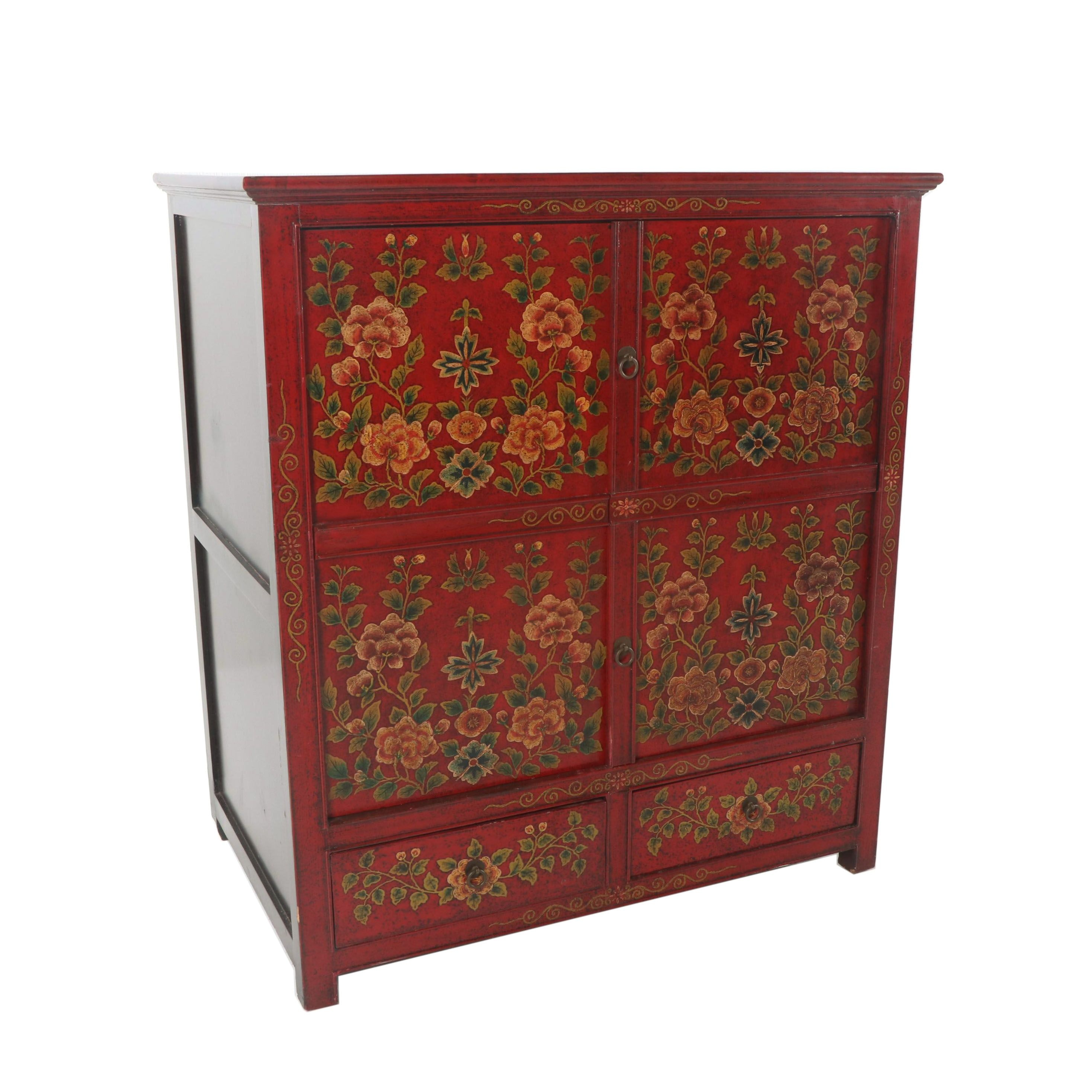 Asian Style Painted Wood Cabinet, 21st Century