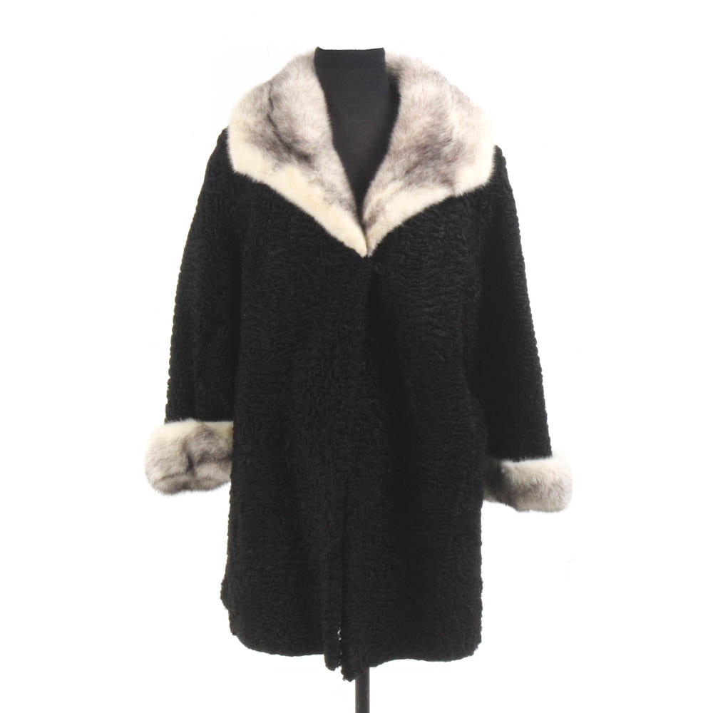 Black Persian Lamb Coat by Le Don with Cross Mink Fur Trim, Vintage