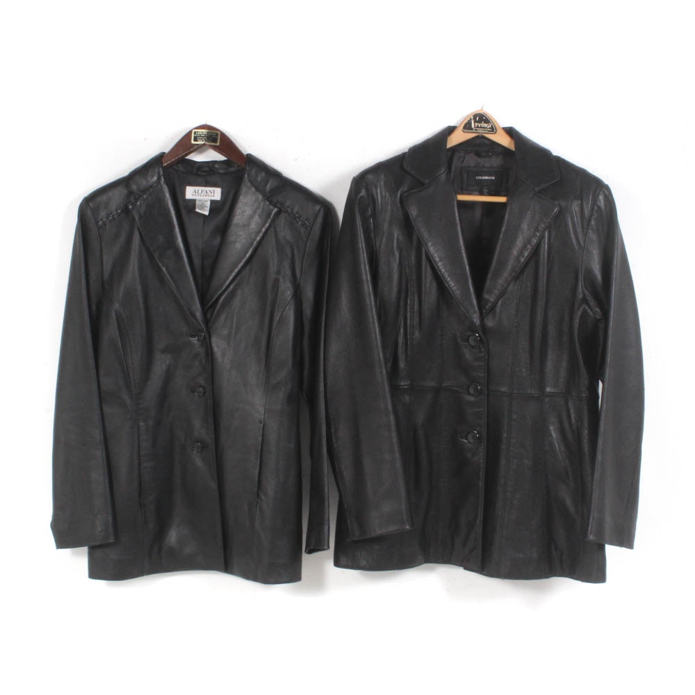 Women's Black Leather Jackets by Colebrook and Alfani Outerwear