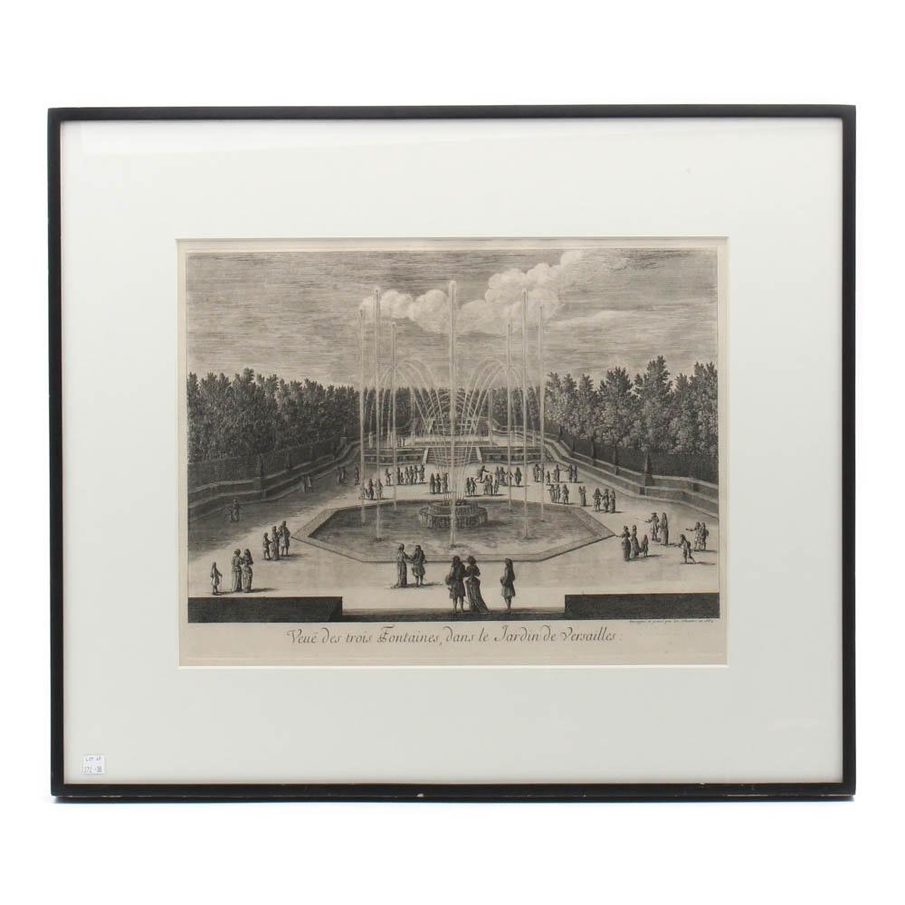 """Antique Engraving After Israel Silvestre """"Jardin de Versailles"""""""