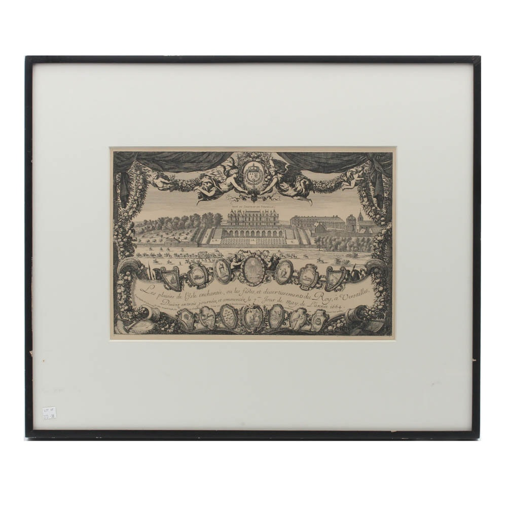 Antique Engraving After Israel Silvestre Versailles Party Invitation