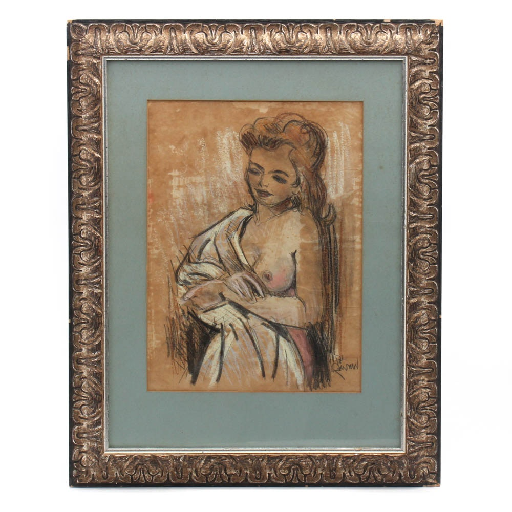 """Paul Reinman """"After the Bath"""" Pastel and Crayon Drawing"""