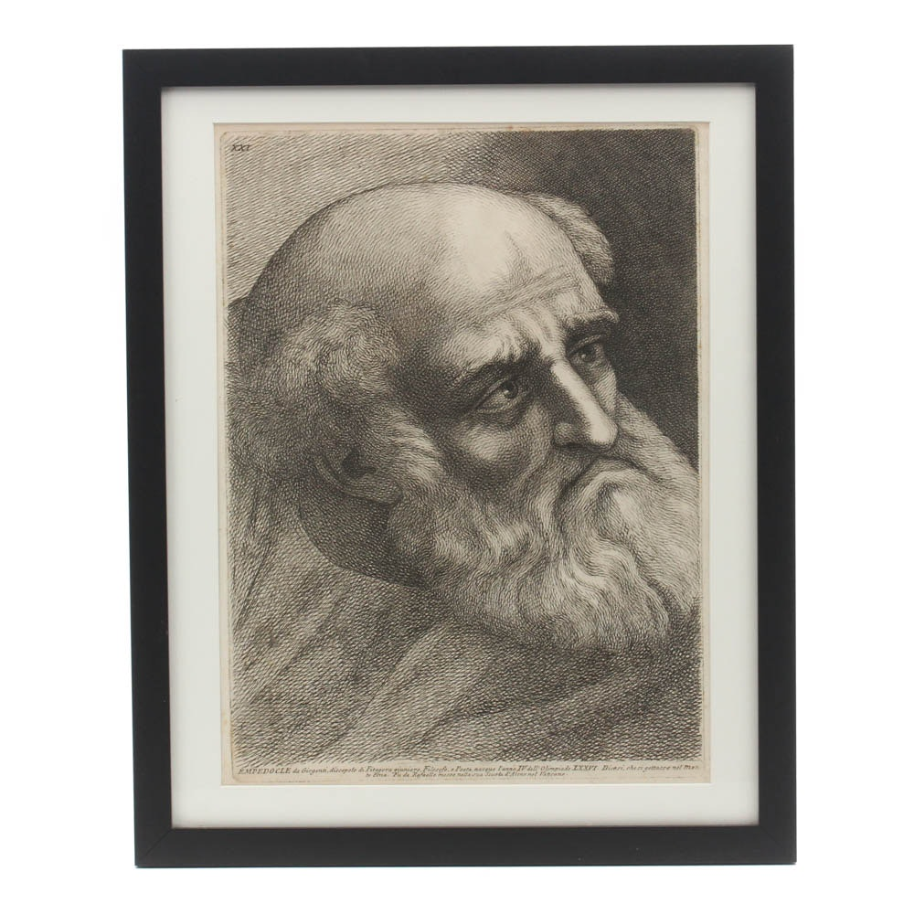 """Antique Copper Plate Engraving After Raphael """"Empedocle"""""""
