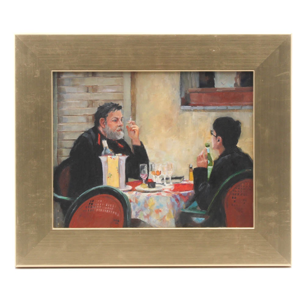 Connie Layne Restaurant Scene Oil Painting