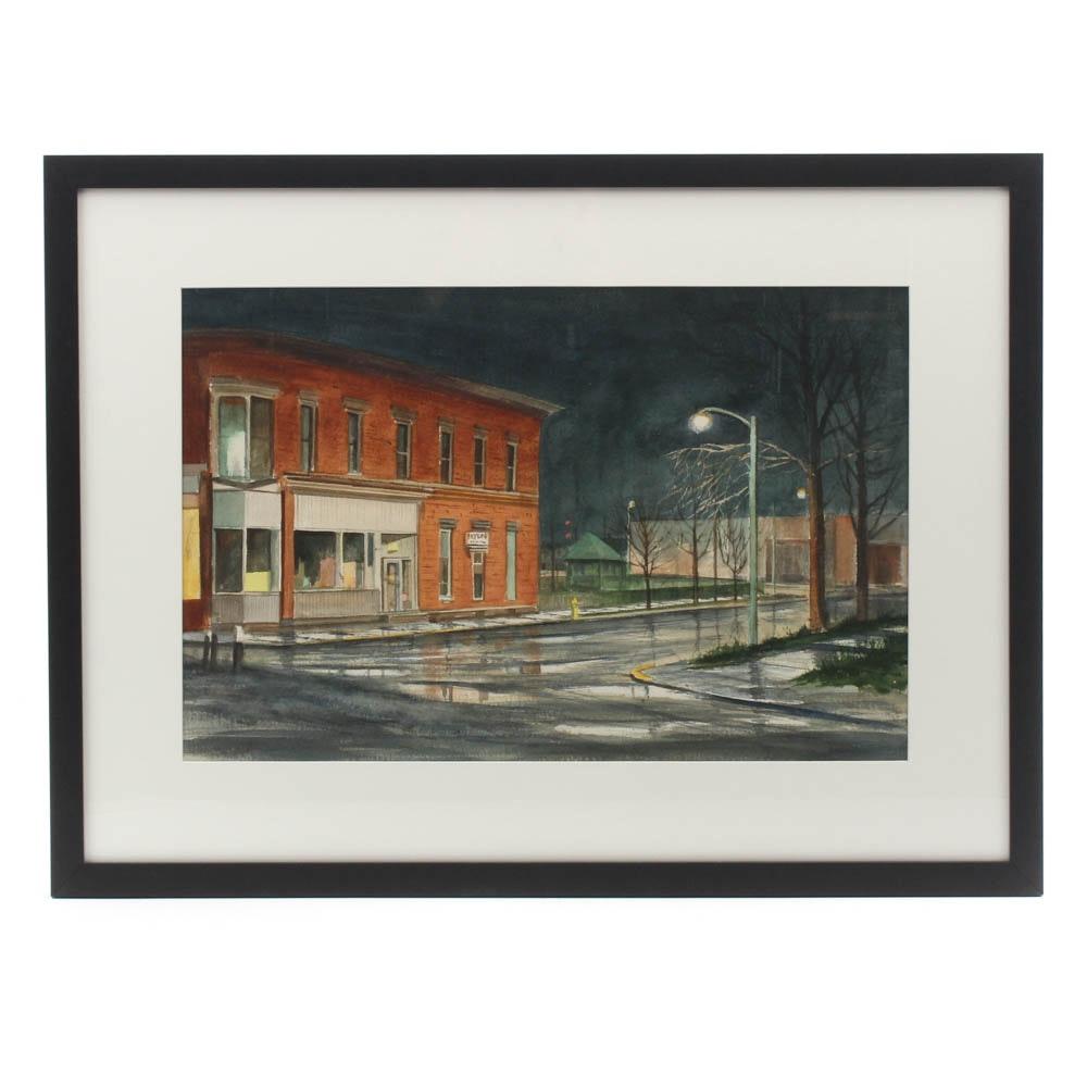 James DeVore Street Scene Watercolor Painting