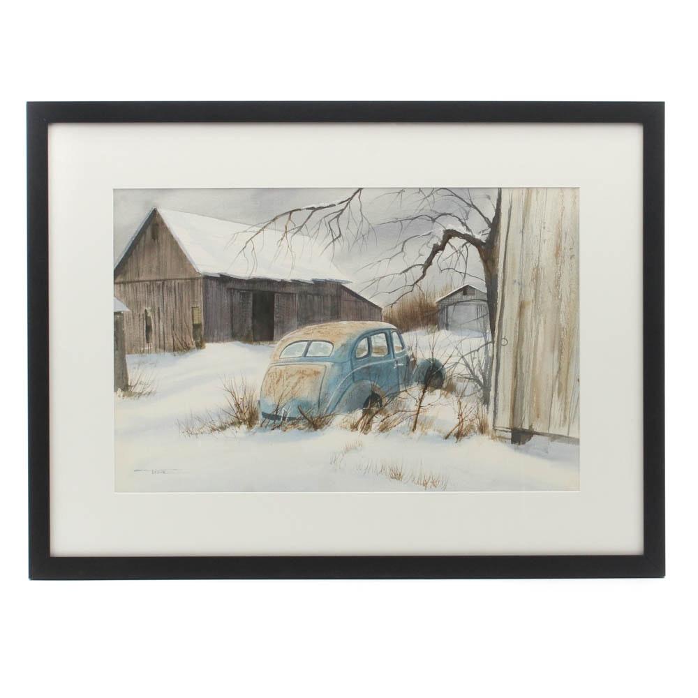 James DeVore Winter Landscape Watercolor Painting