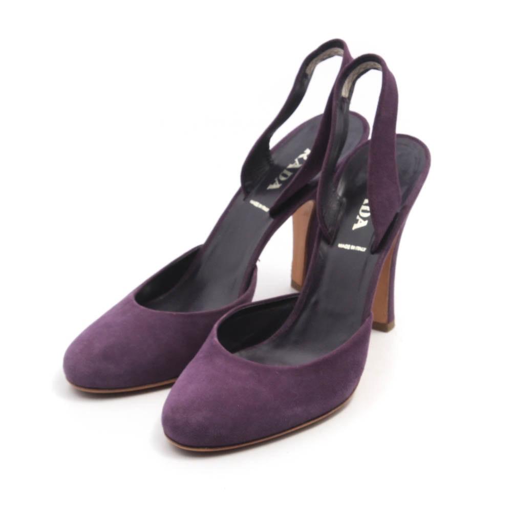Prada Vero Cuoio Purple Suede High Heel Slingbacks, Made in Italy