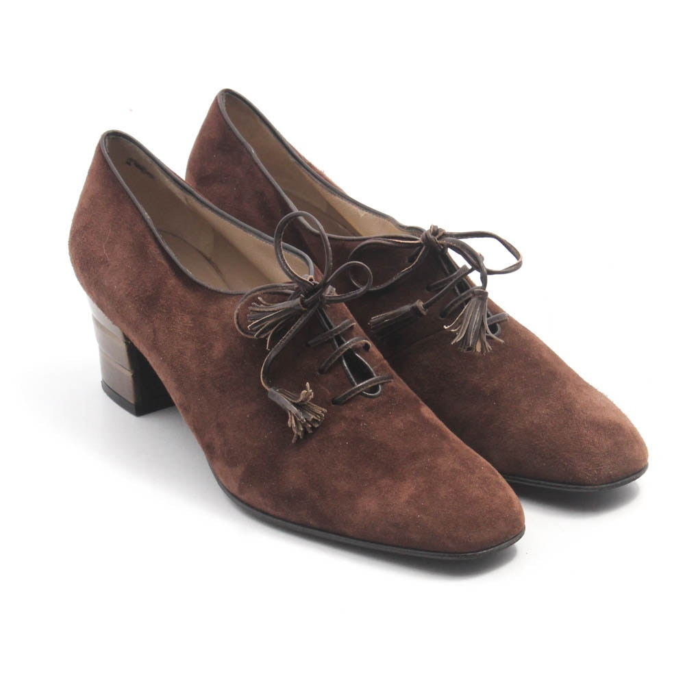 Salvatore Ferragamo Brown Suede and Leather Oxford Heels, Made in Italy