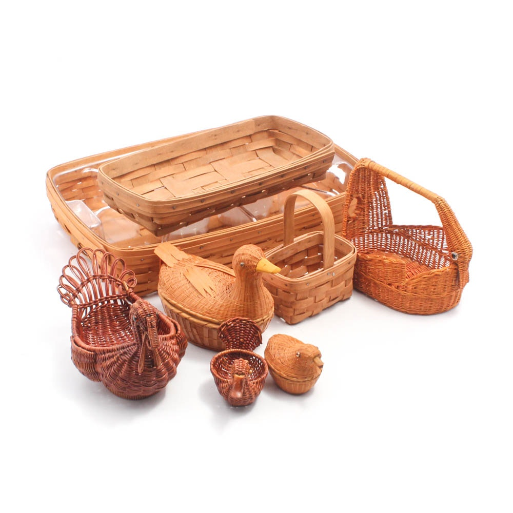 Longaberger Baskets with Duck and Turkey Shaped Baskets