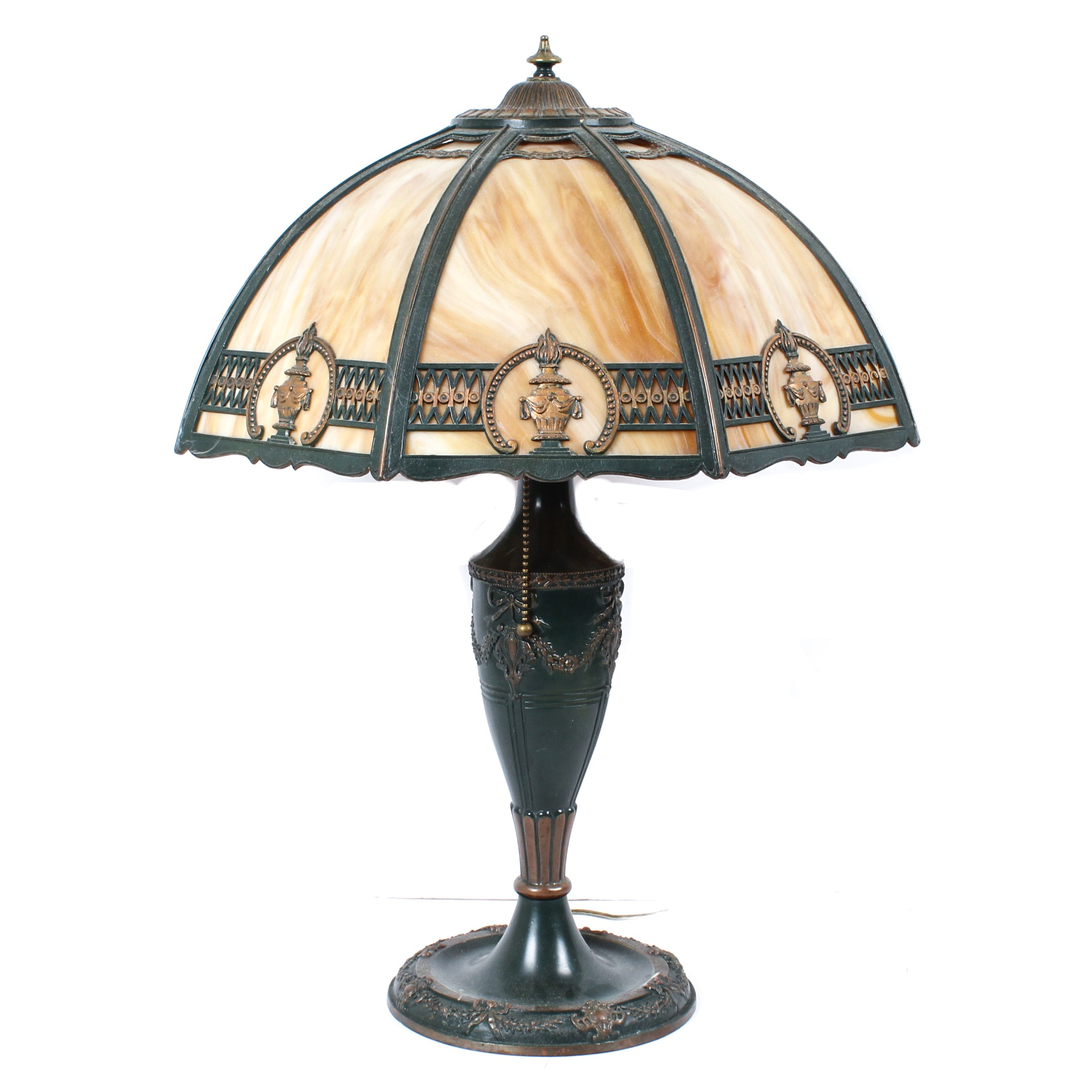 Cast Metal Neoclassical Style Table Lamp with Slag Glass Shade After Miller