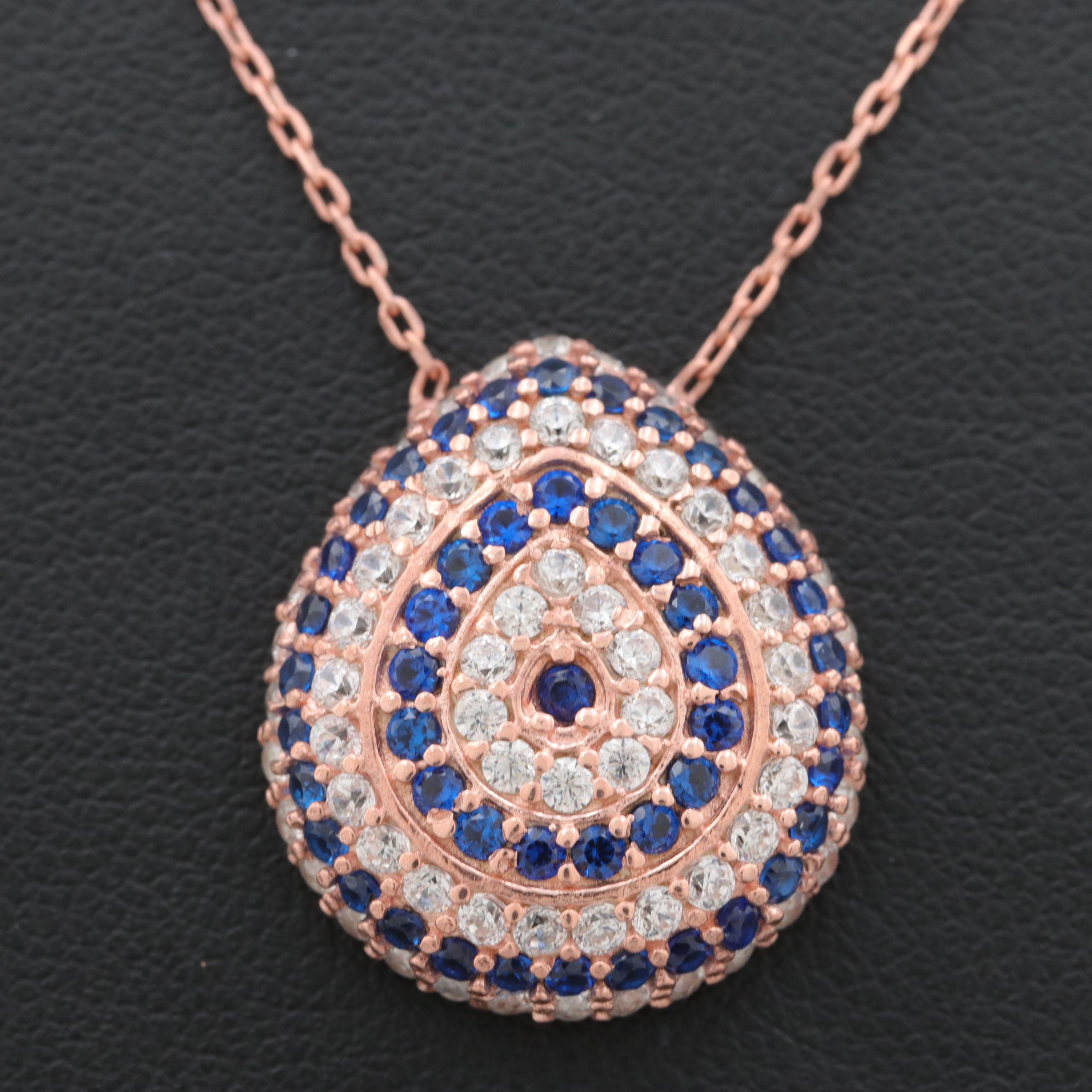 Rose Gold on Sterling Silver Synthetic Blue Spinel and Cubic Zirconia Necklace