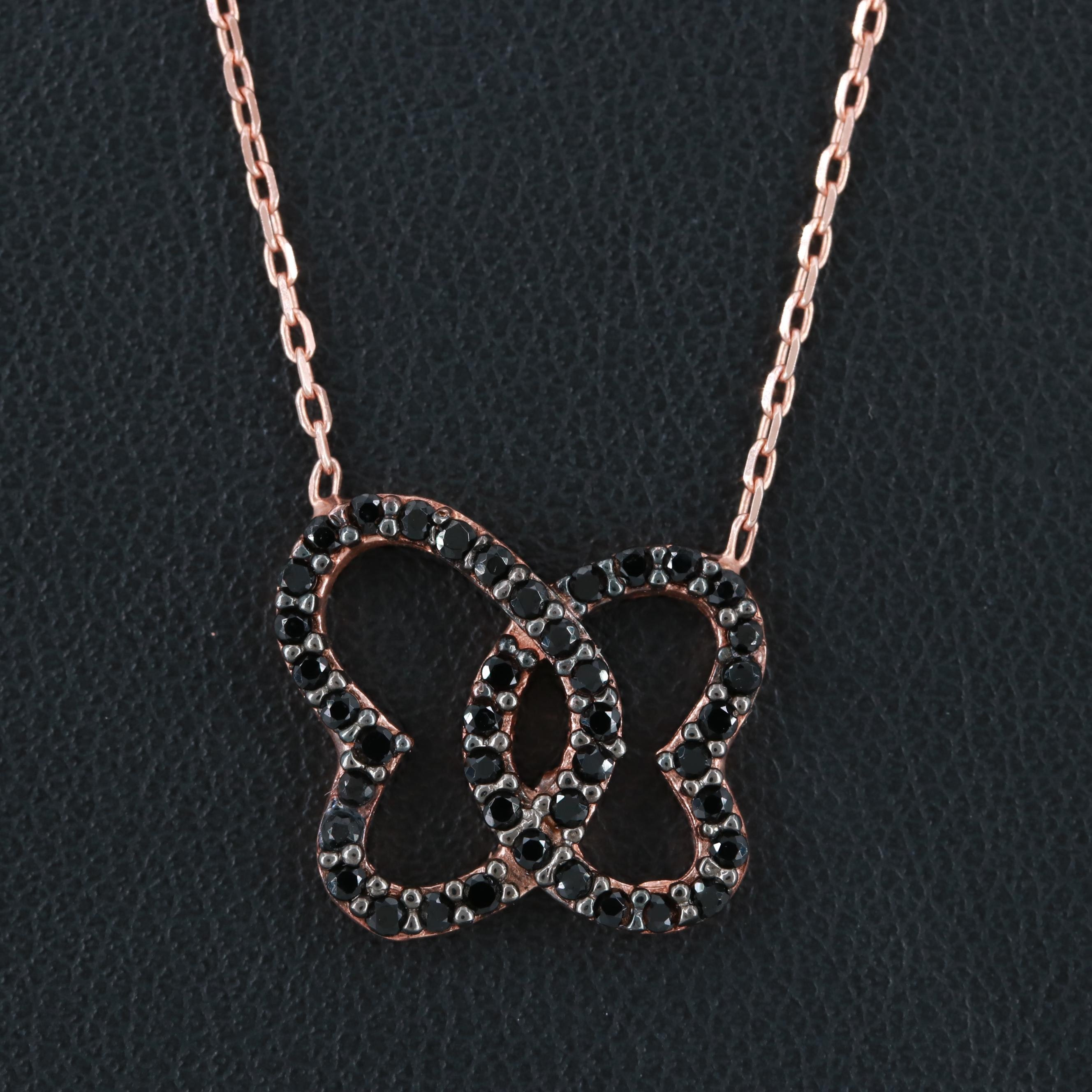 Rose Gold Wash on Sterling Silver Black Cubic Zirconia Pendant Necklace