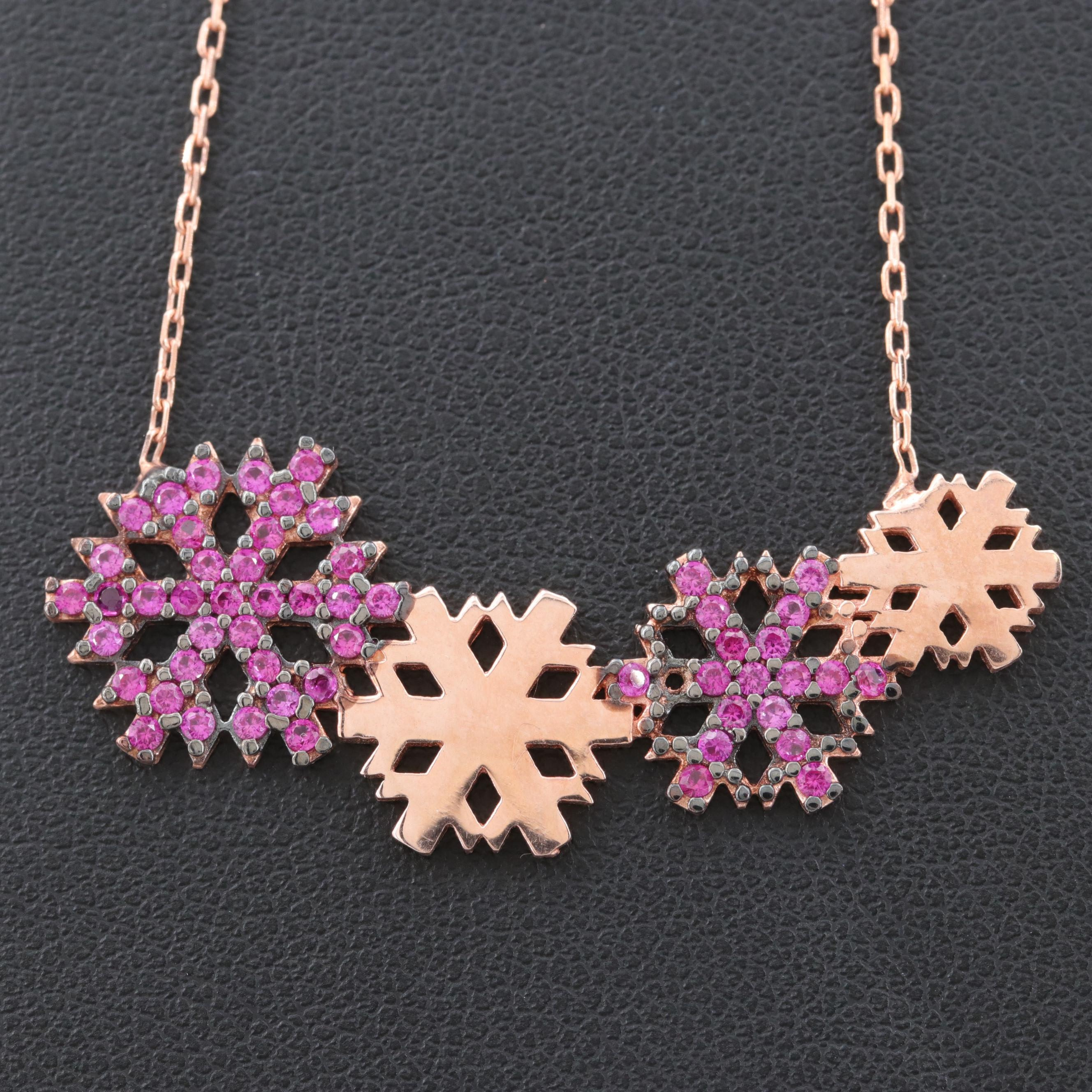 Rose Gold Wash on Sterling Silver Synthetic Ruby Snowflake Necklace