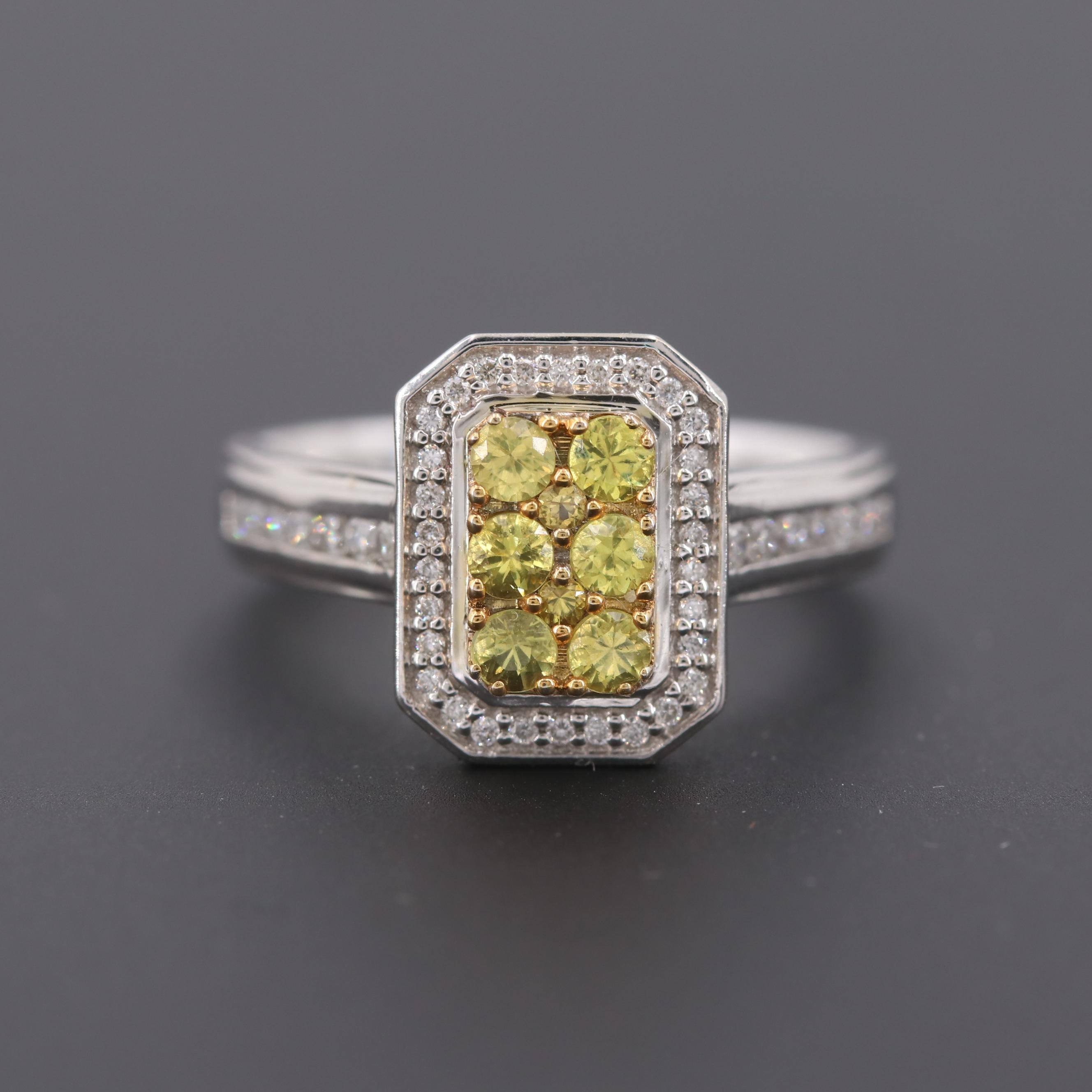 14K White Gold Yellow Sapphire and Diamond Ring