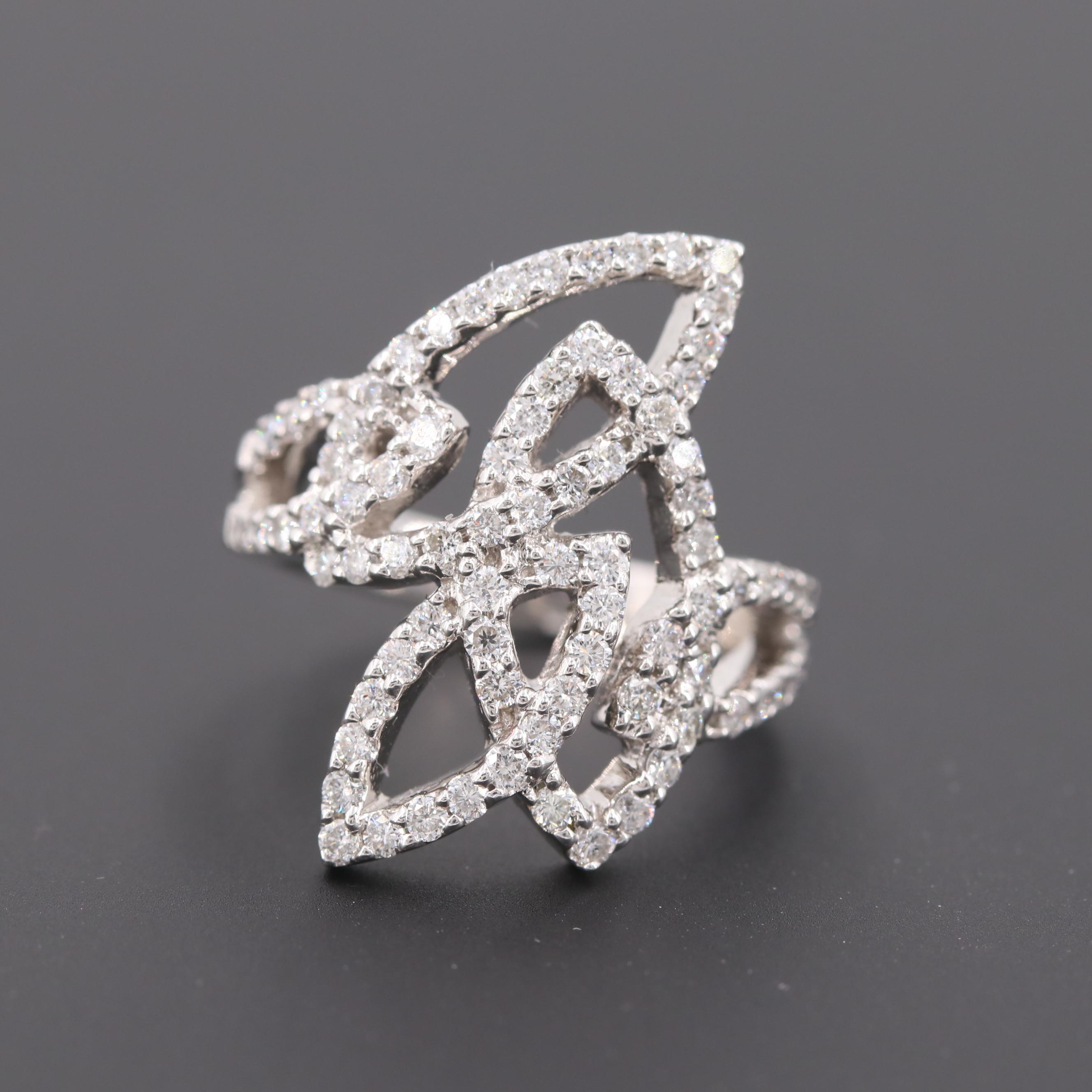 14K White Gold 1.25 CTW Diamond Ring
