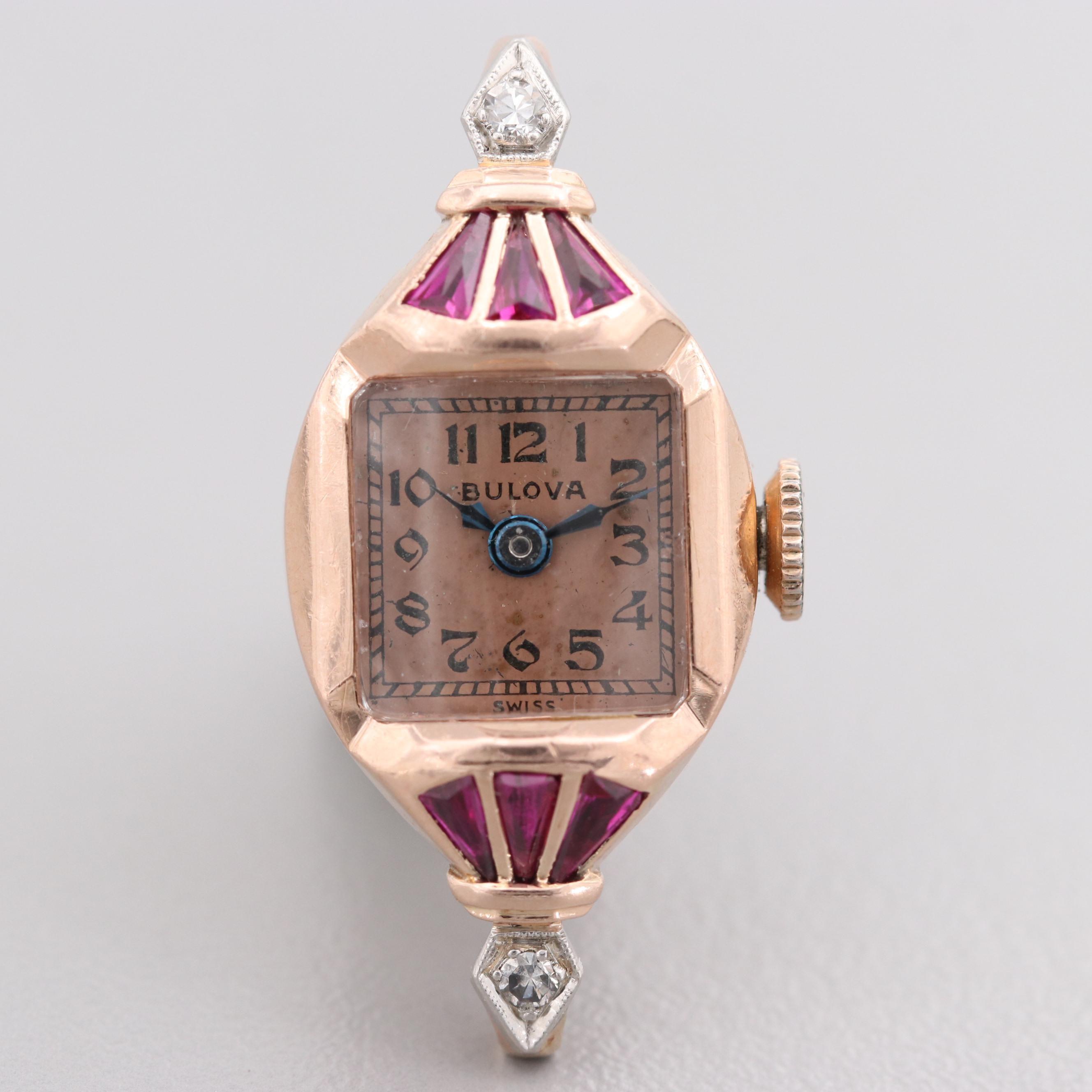 Vintage Bulova 14K Rose Gold Diamond and Synthetic Ruby Wristwatch