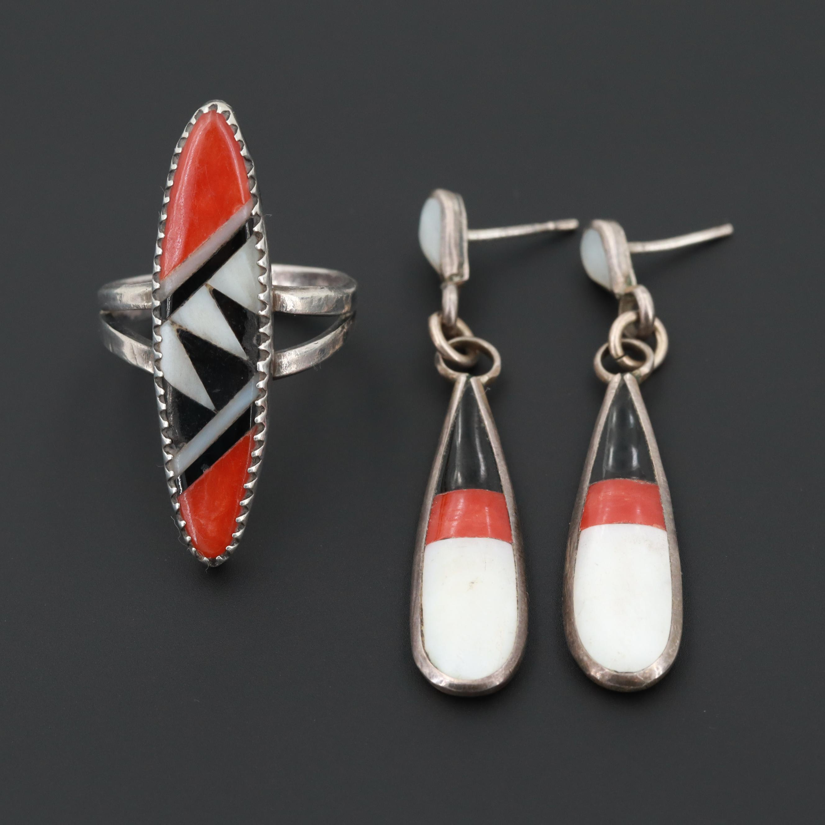 Southwestern Sterling Silver Coral, Shell and Resin Inlay Ring and Earrings