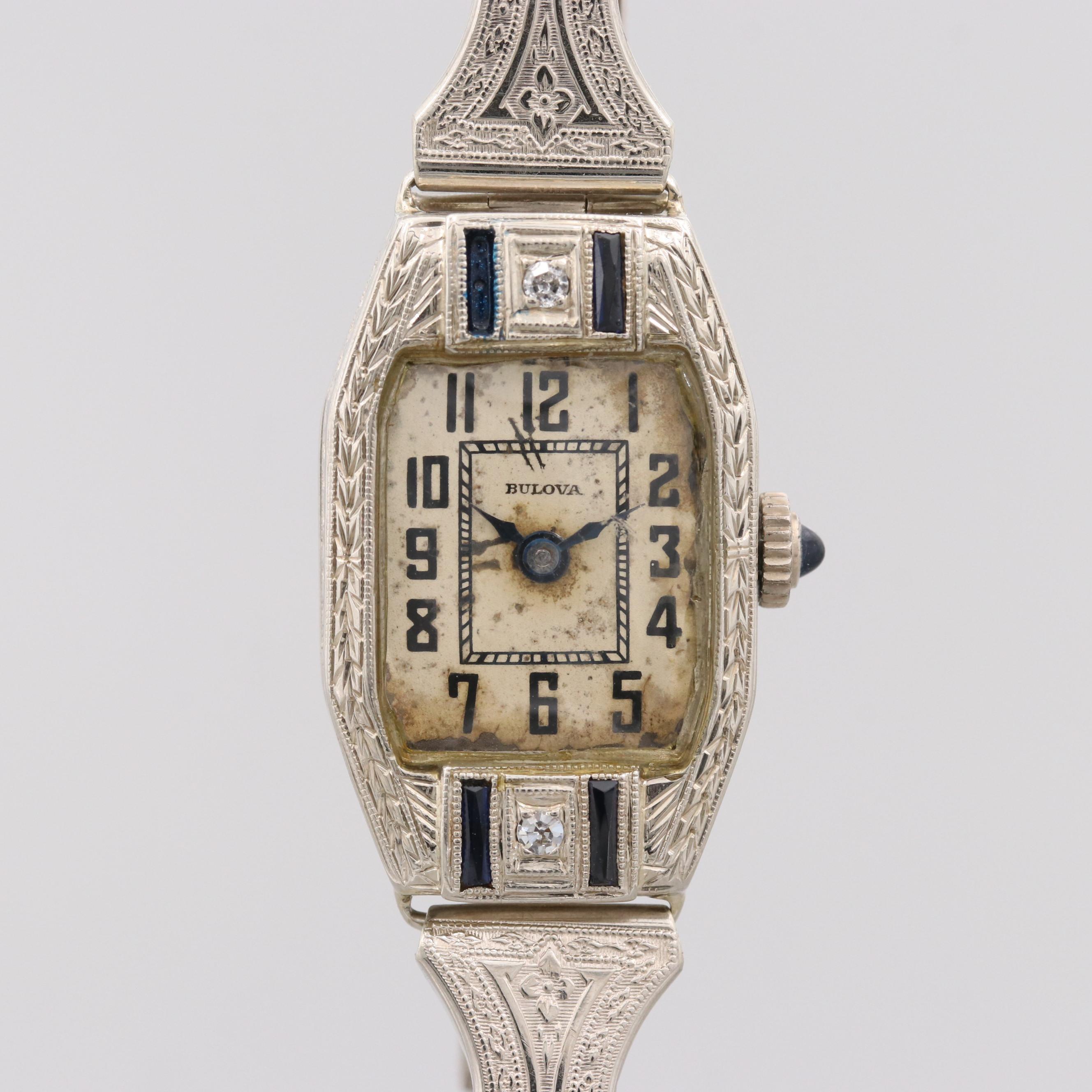 Bulova 14K White Gold Diamond and Synthetic Sapphire Wristwatch