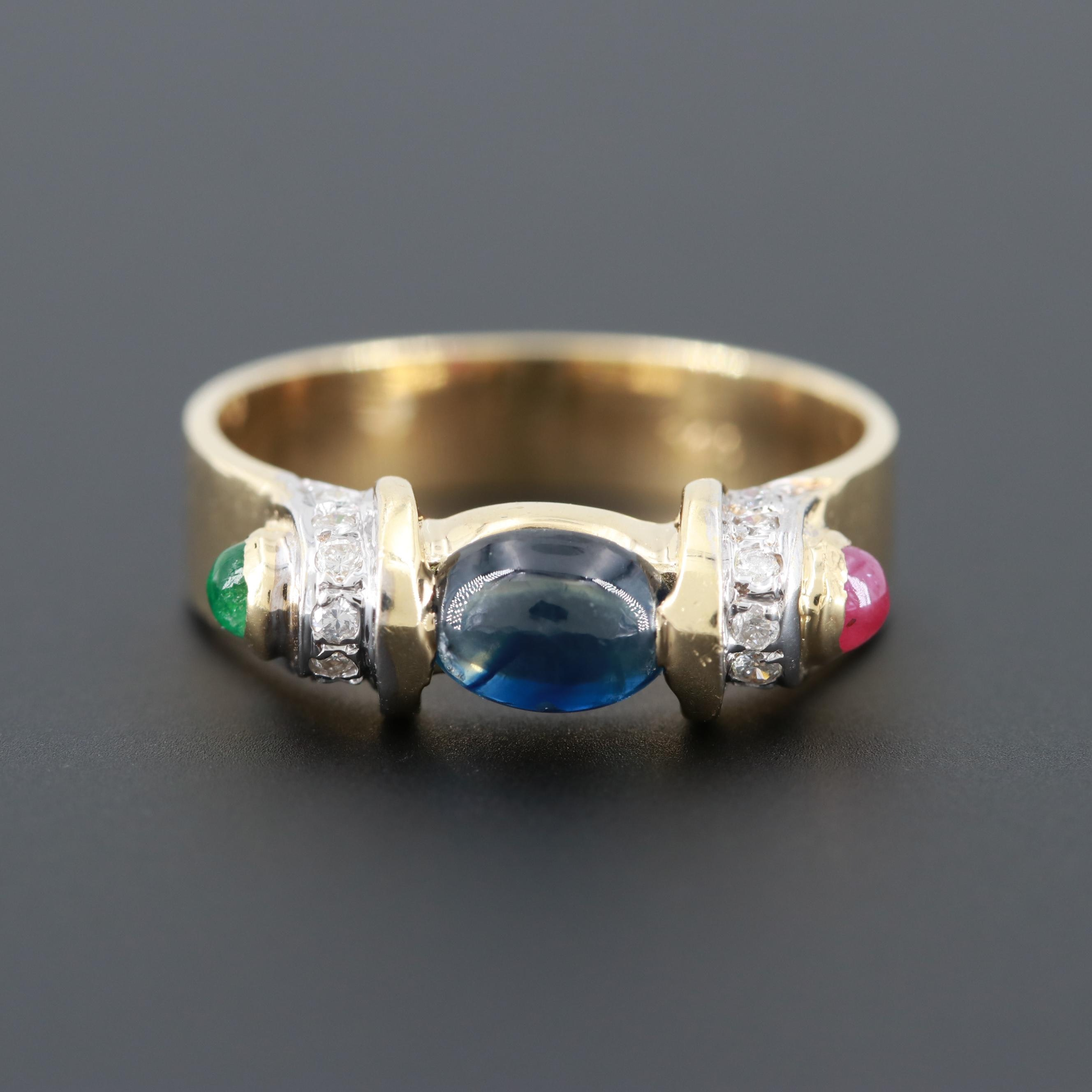 14K Yellow Gold Blue Sapphire and Diamond Ring with Ruby and Emerald Accents