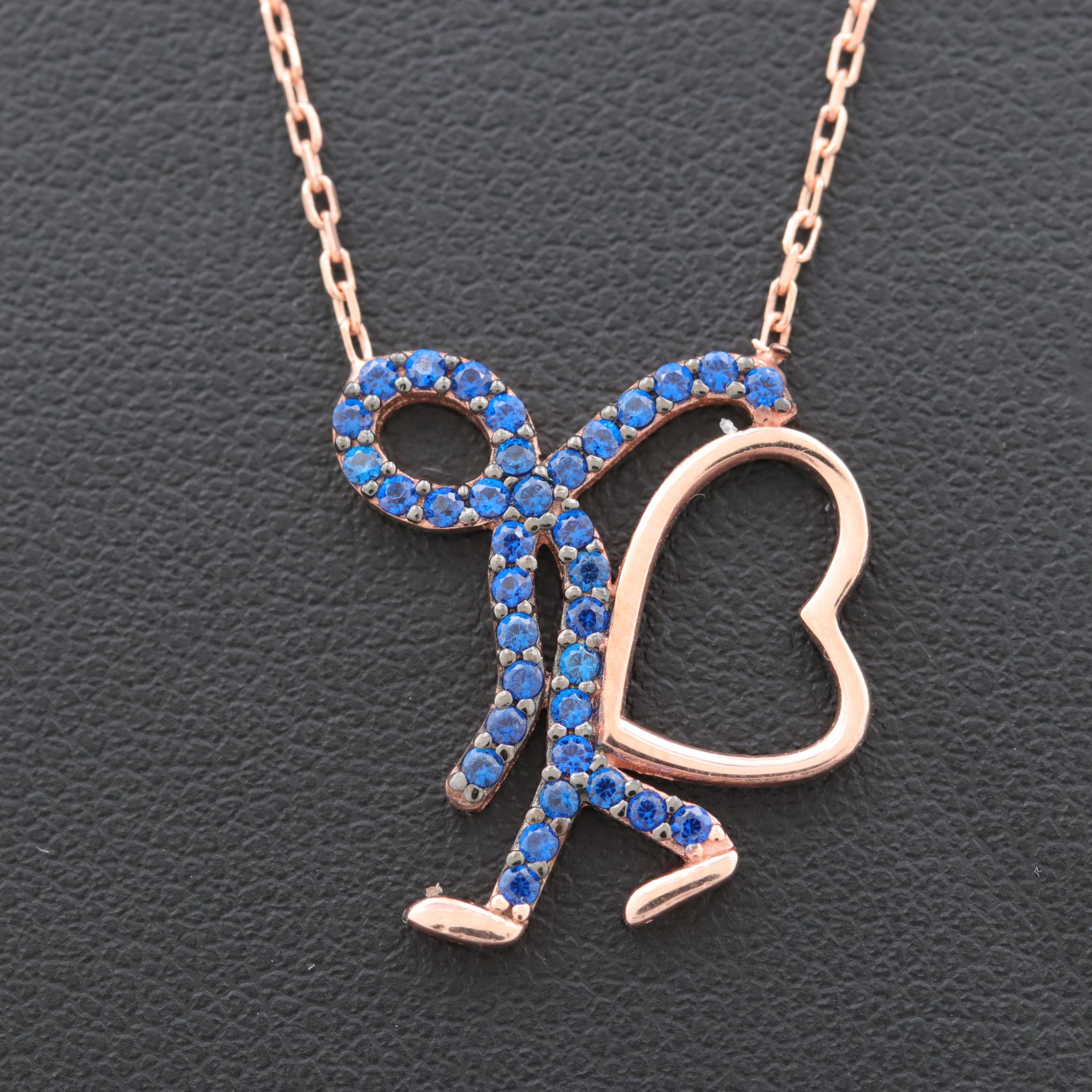 Rose Gold Wash on Sterling Silver Synthetic Blue Spinel Pendant Necklace