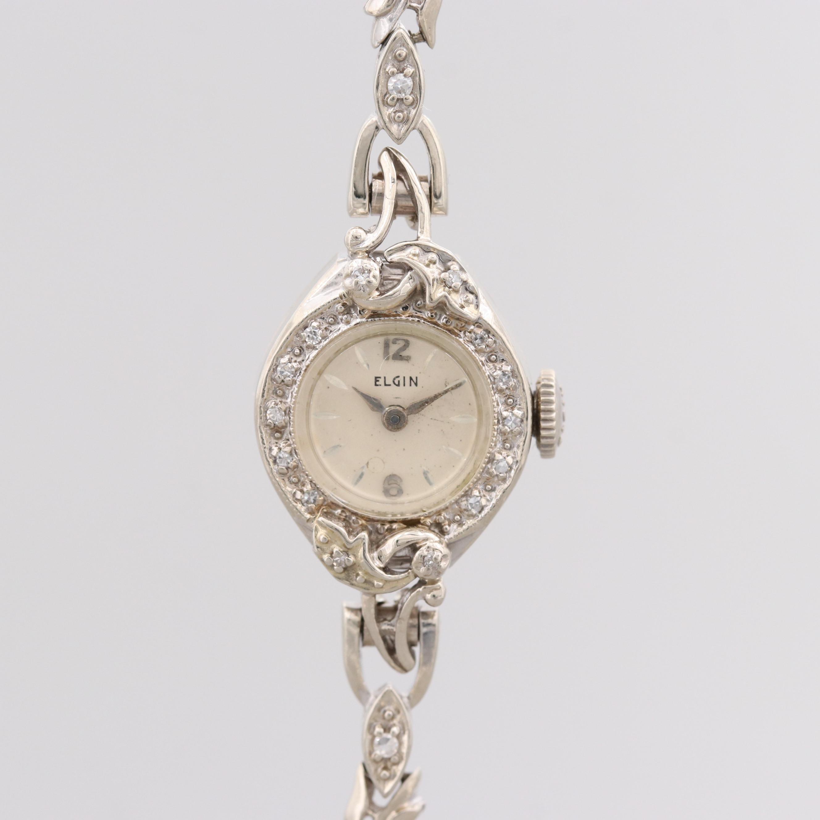 Elgin 14K White Gold Wristwatch With Diamond Bezel and Bracelet