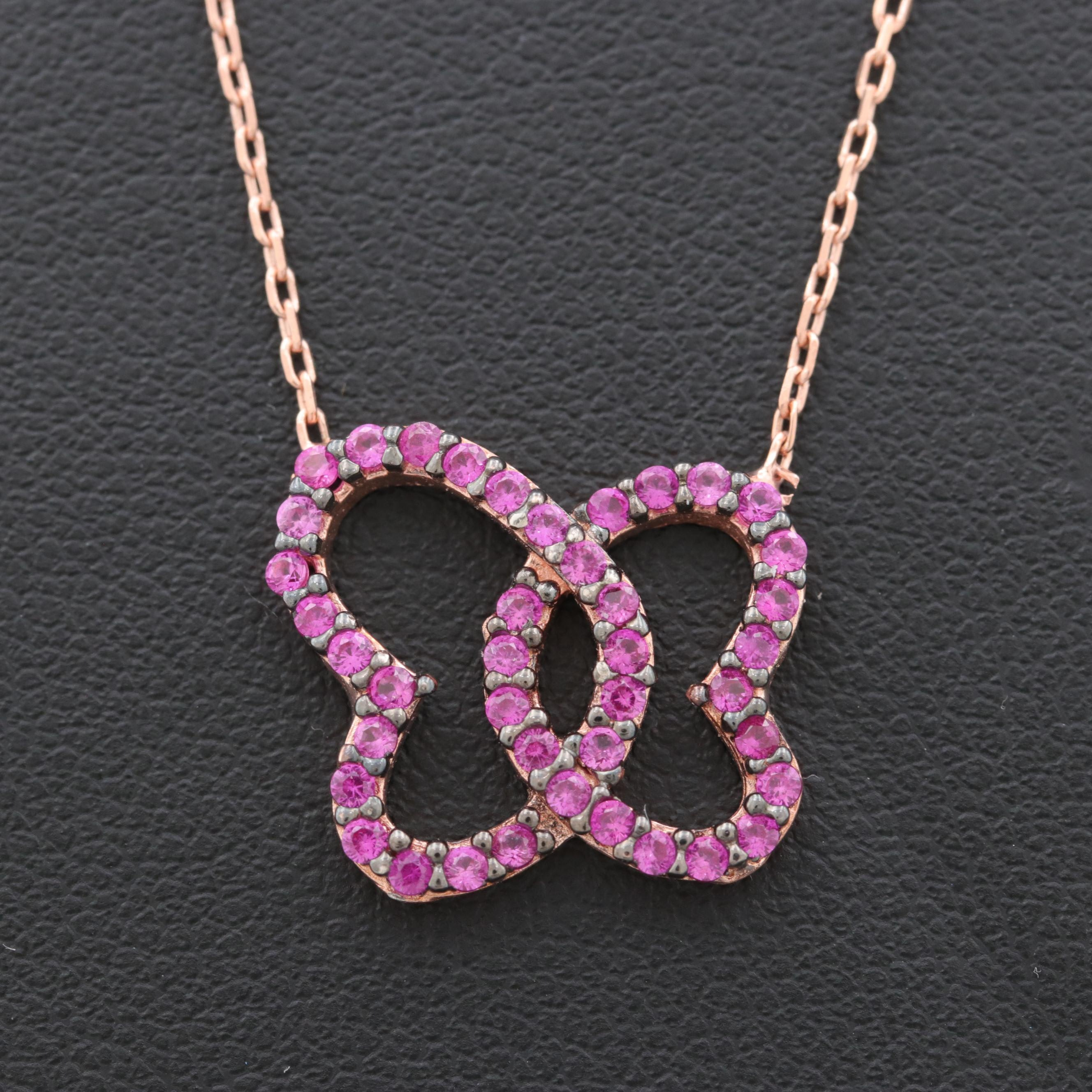 Rose Gold Wash on Sterling Silver Synthetic Ruby Pendant Necklace