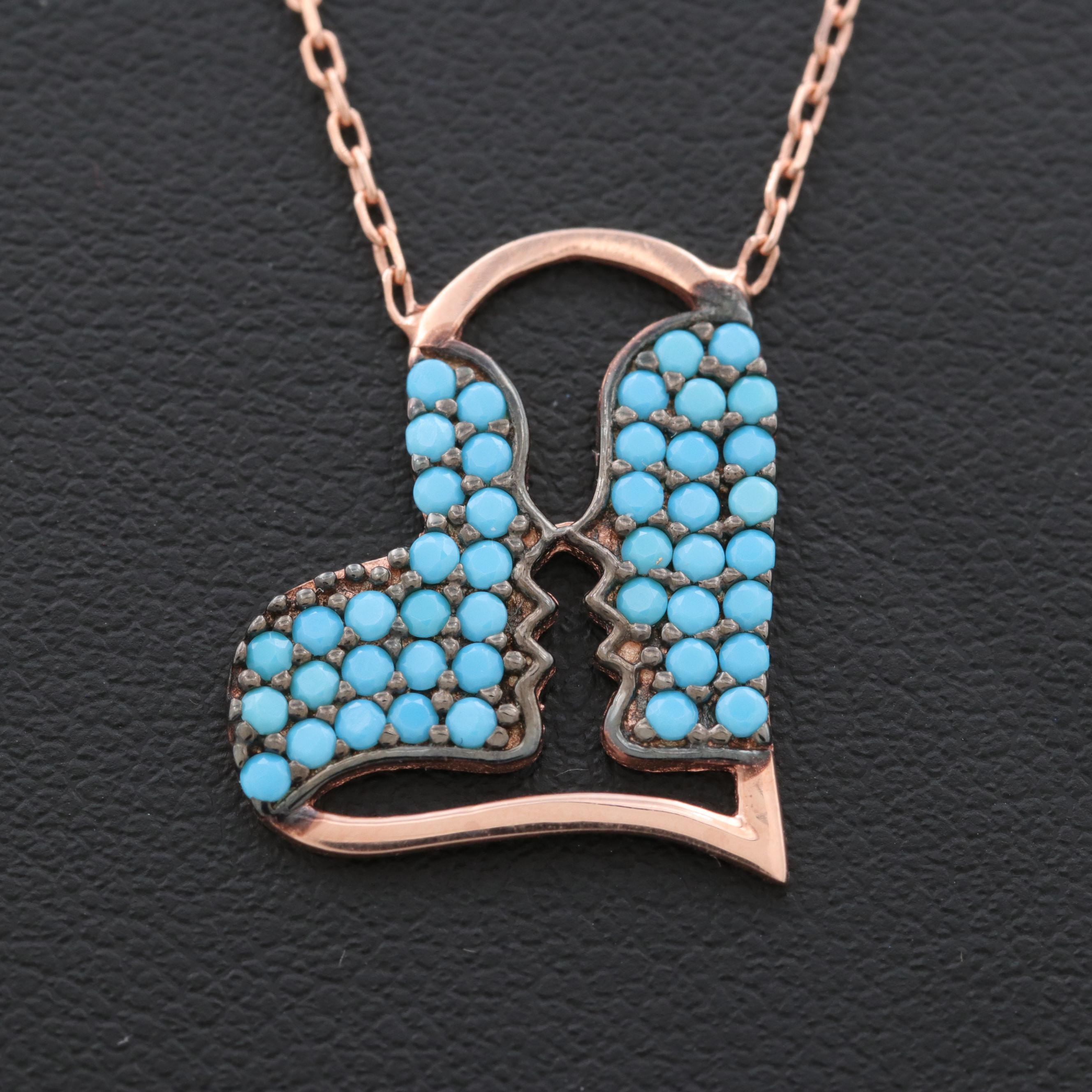 Rose Gold Wash on Sterling Silver Imitation Turquoise Heart Pendant Necklace
