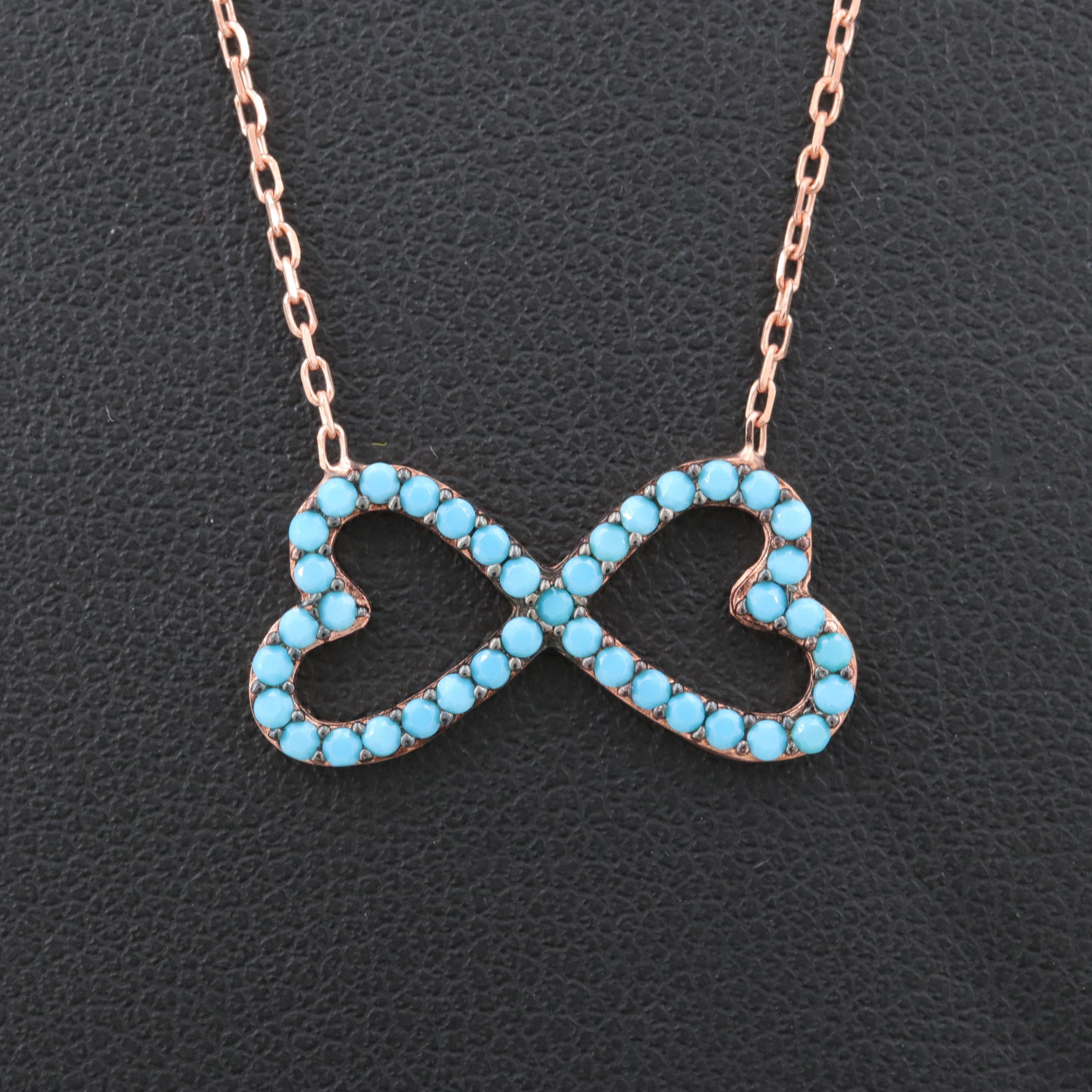 Rose Gold Wash on Sterling Silver Imitation Turquoise Pendant Necklace