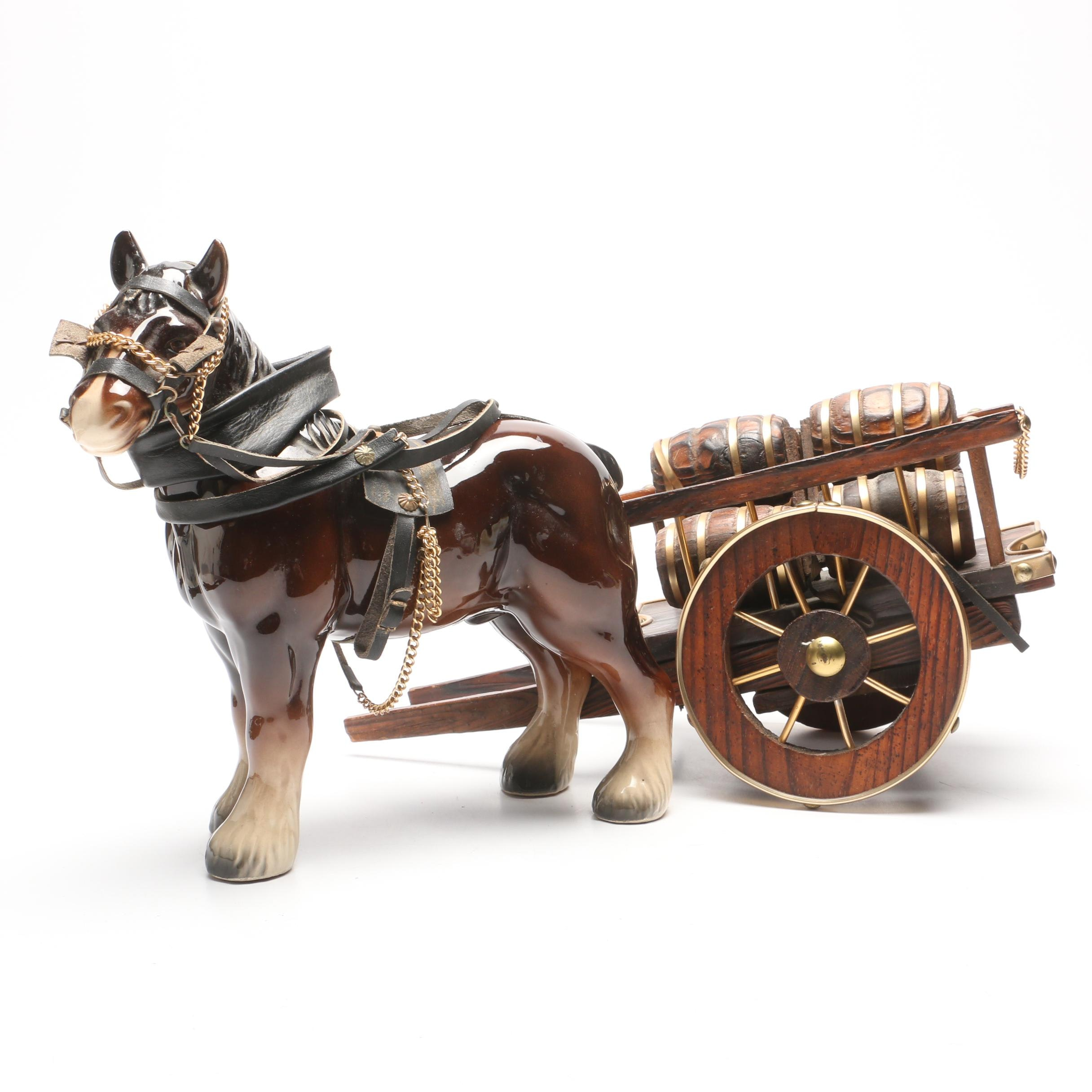 Shire  Horse Porcelain Figurine Pulling a Cart