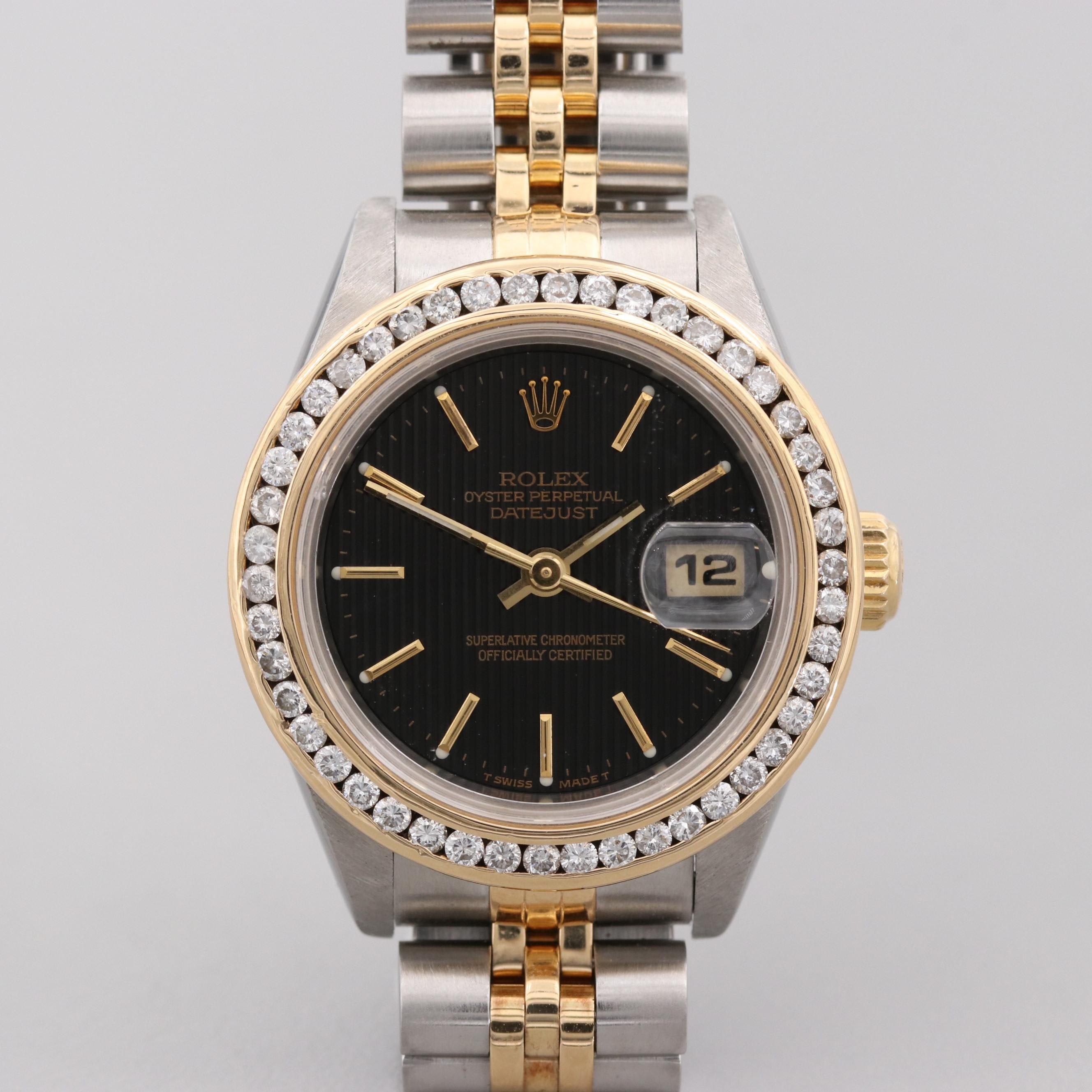 Rolex Datejust Stainless Steel, 18K Yellow Gold Wristwatch With Diamonds, 1999