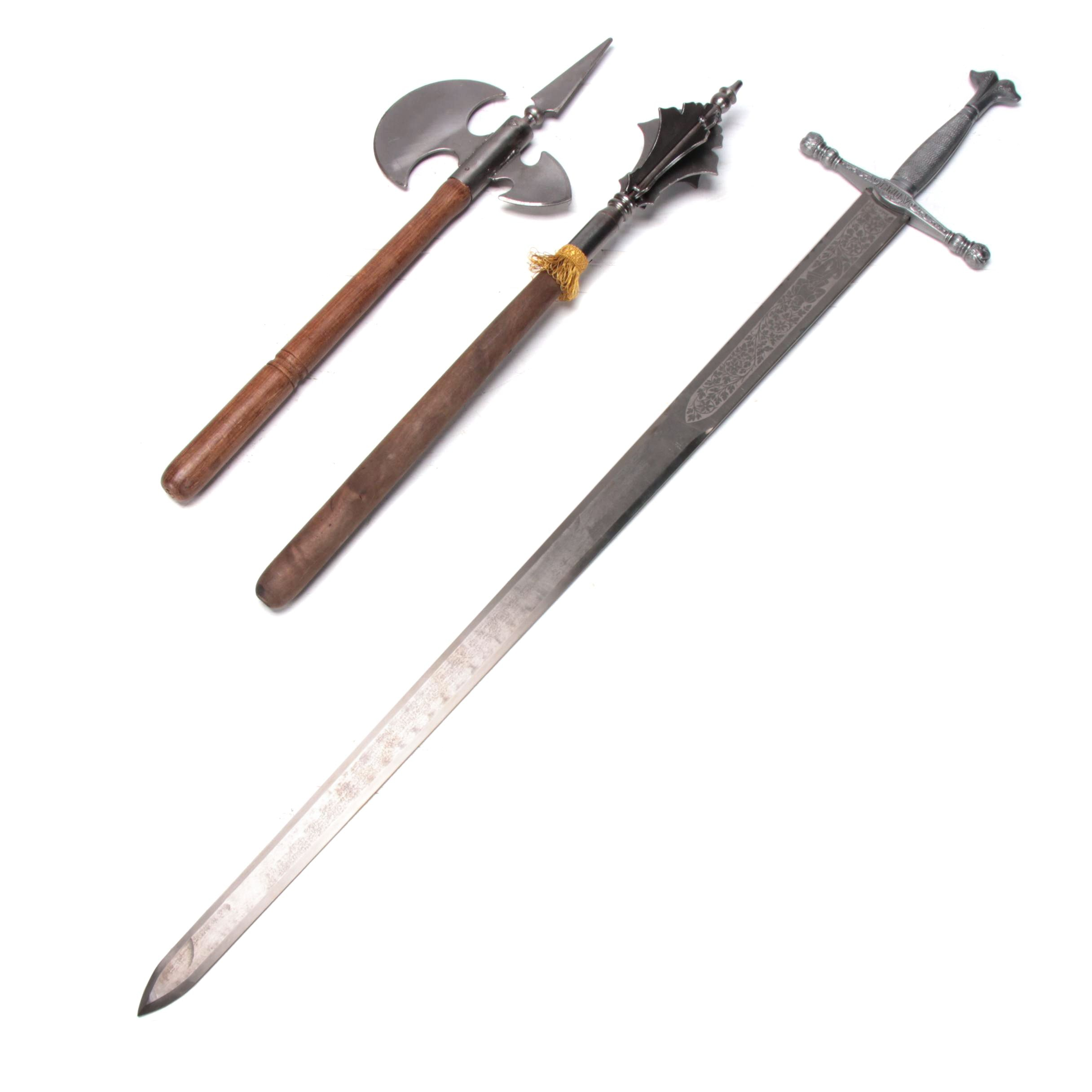 Replica Charles V Toledo Steel Sword and Medieval Style Axe and Flanged Mace