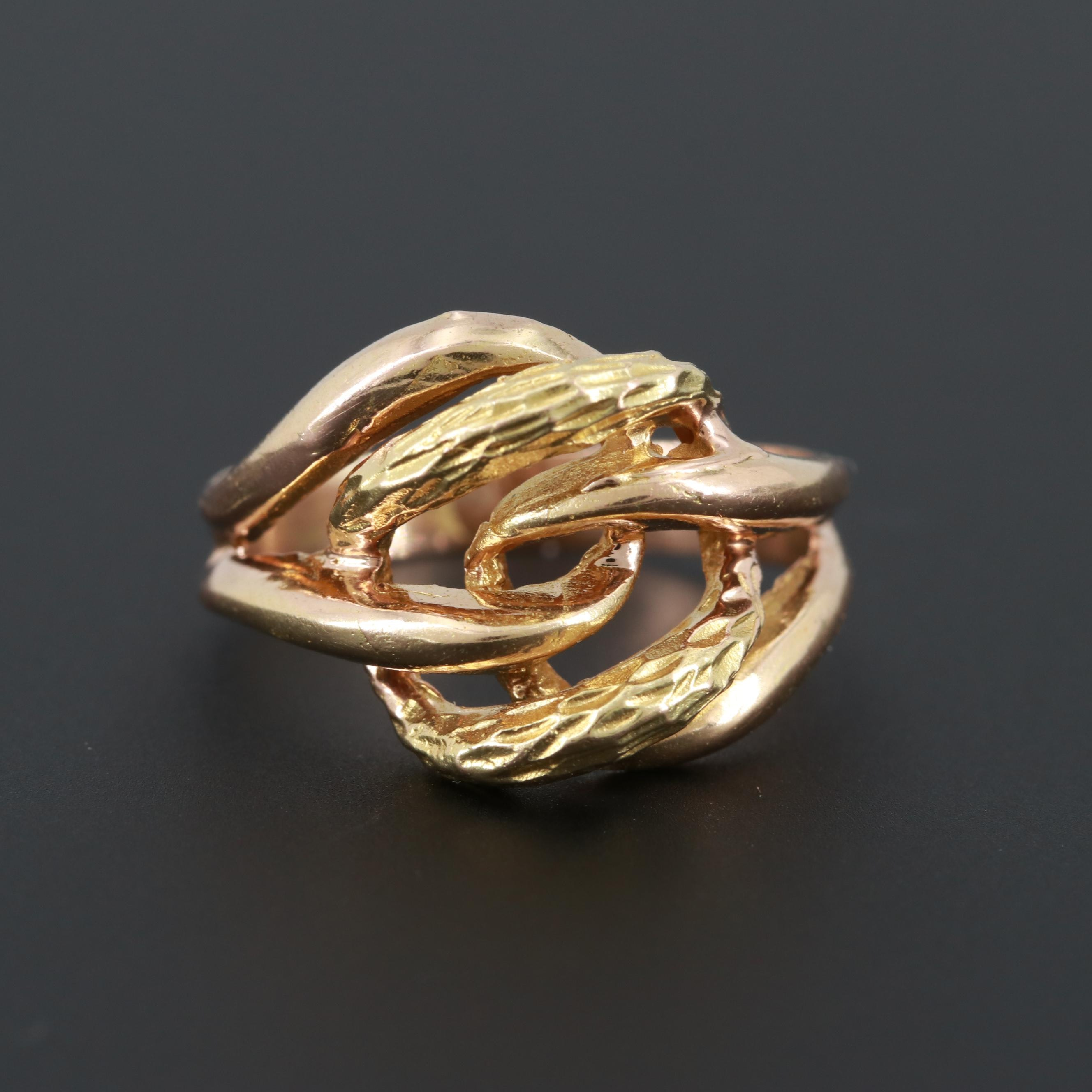 Vintage 14K Rose and Yellow Gold Knot Ring with Branch Motif Accents