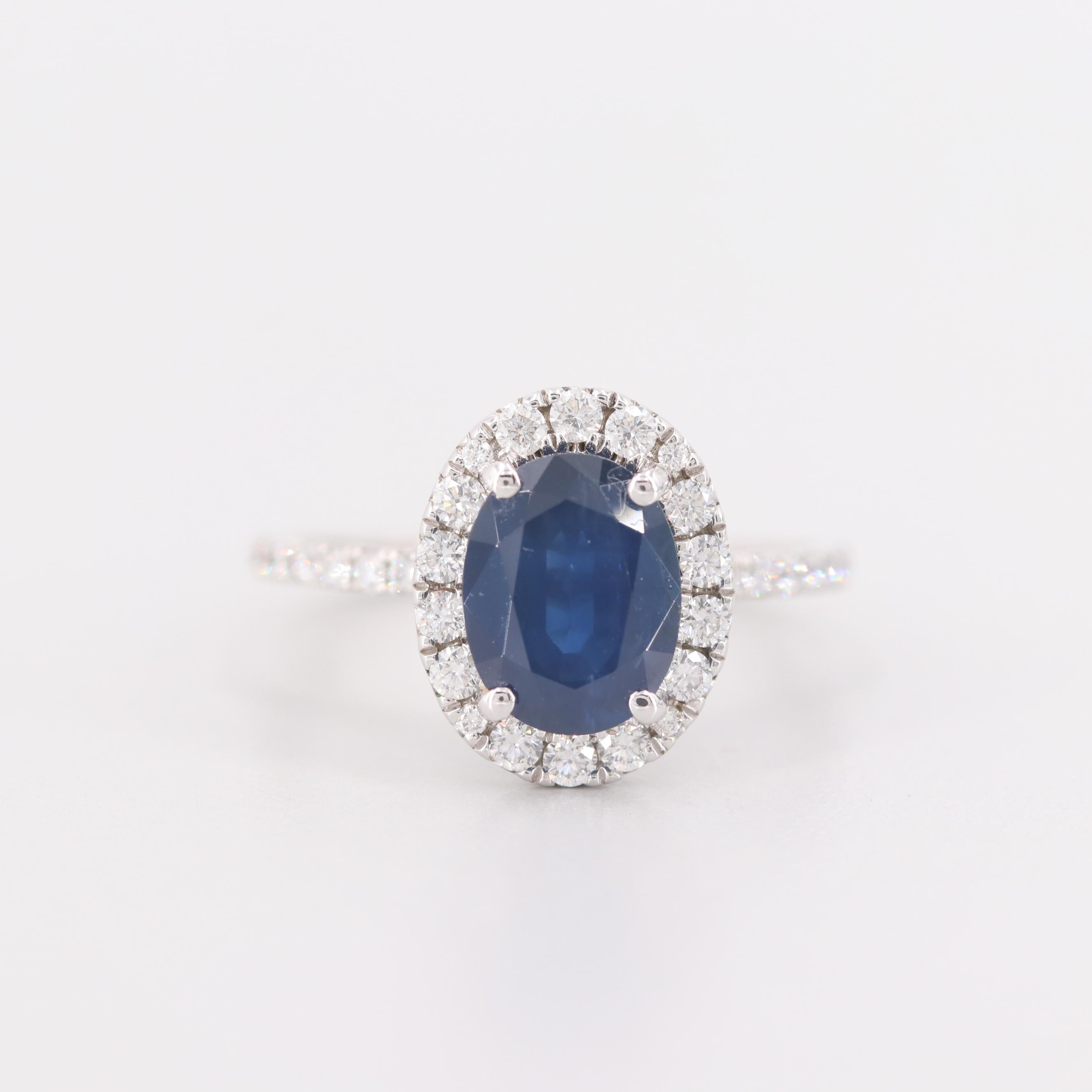 A. Jaffe 14K White Gold 2.60 CT Blue Sapphire and Diamond Ring