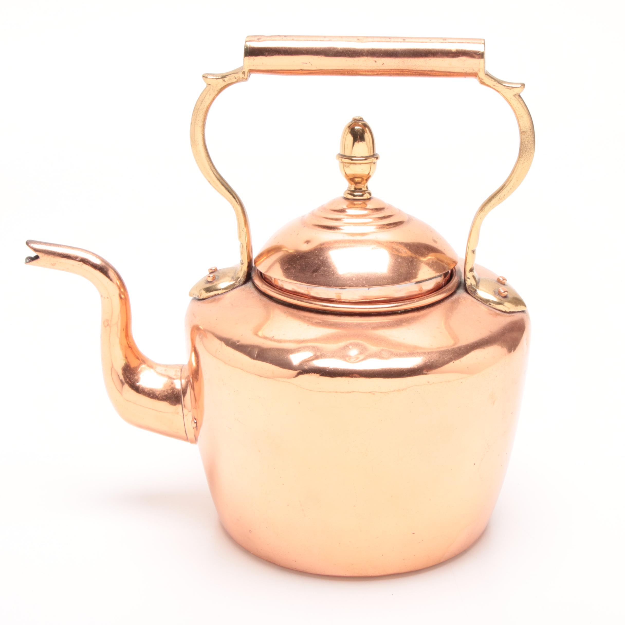 Early 1900s English William Soutter & Sons Copper & Brass Tea Kettle