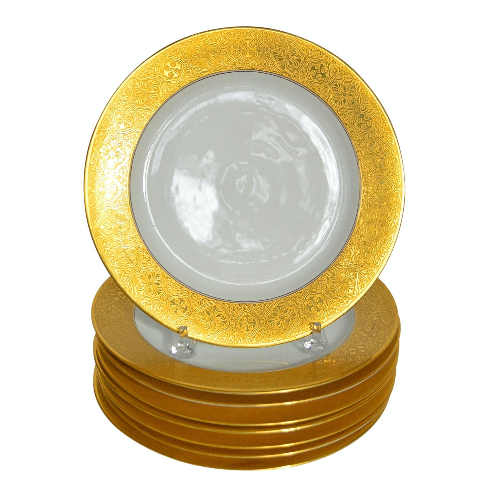 Set of Eight Limoges Gold-Banded Porcelain Dinner Plates