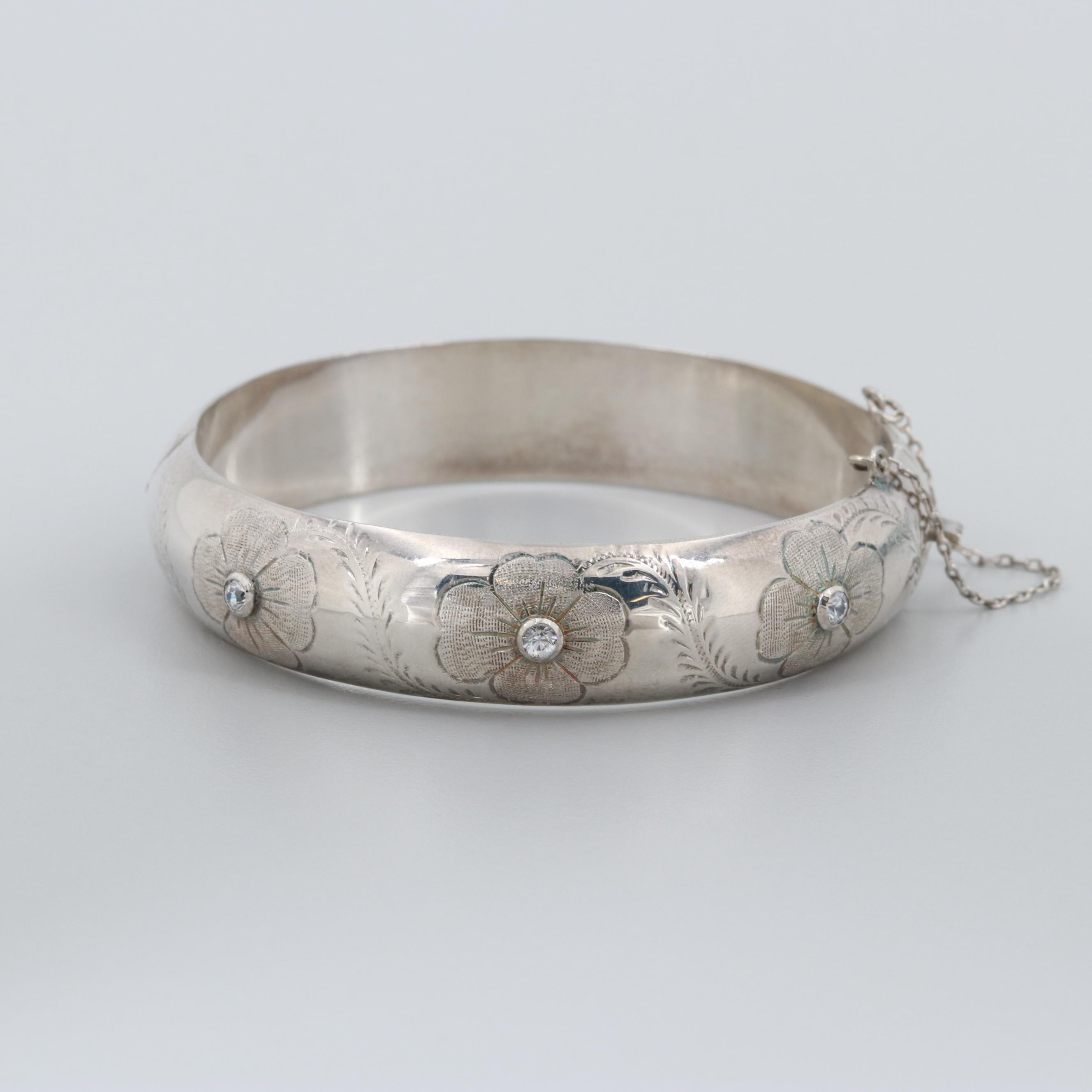 Vintage Sterling Silver Glass Floral Hinged Bracelet