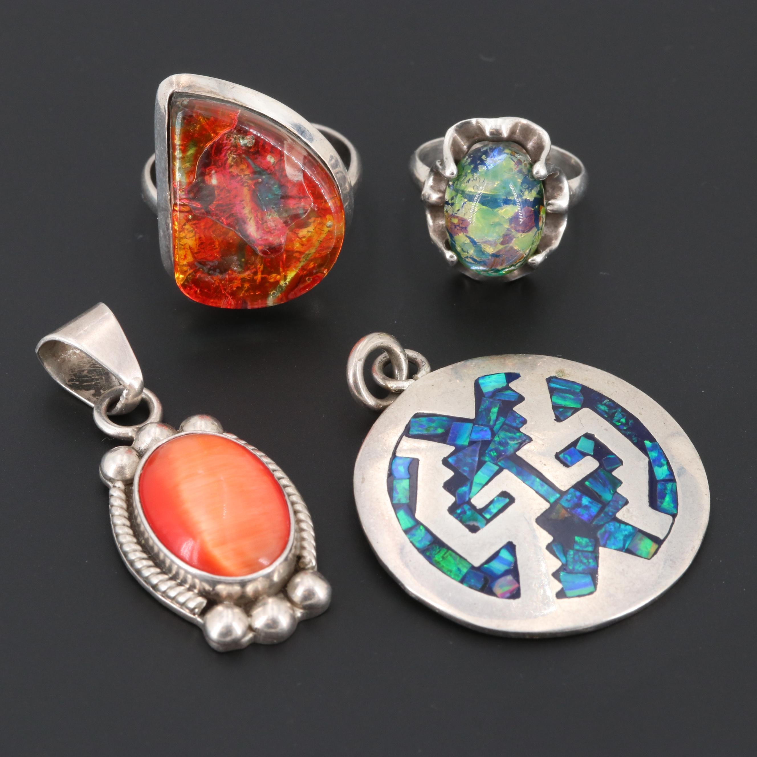 Mexican Rings and Pendant Including Sterling, Glass and Synthetic Opal in Resin