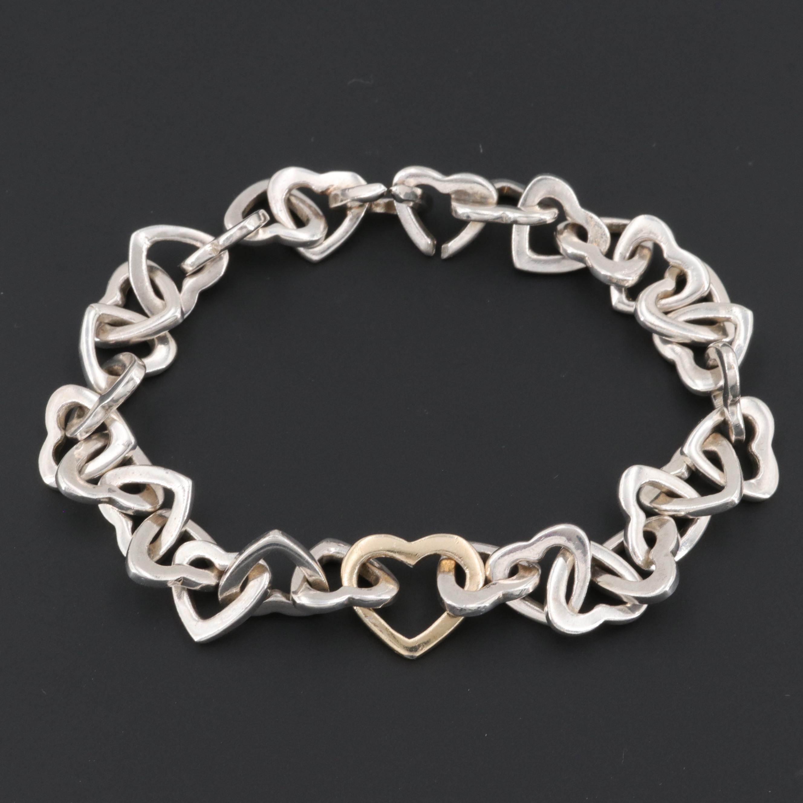 Sterling Silver Heart Link Bracelet with Gold Wash Accent