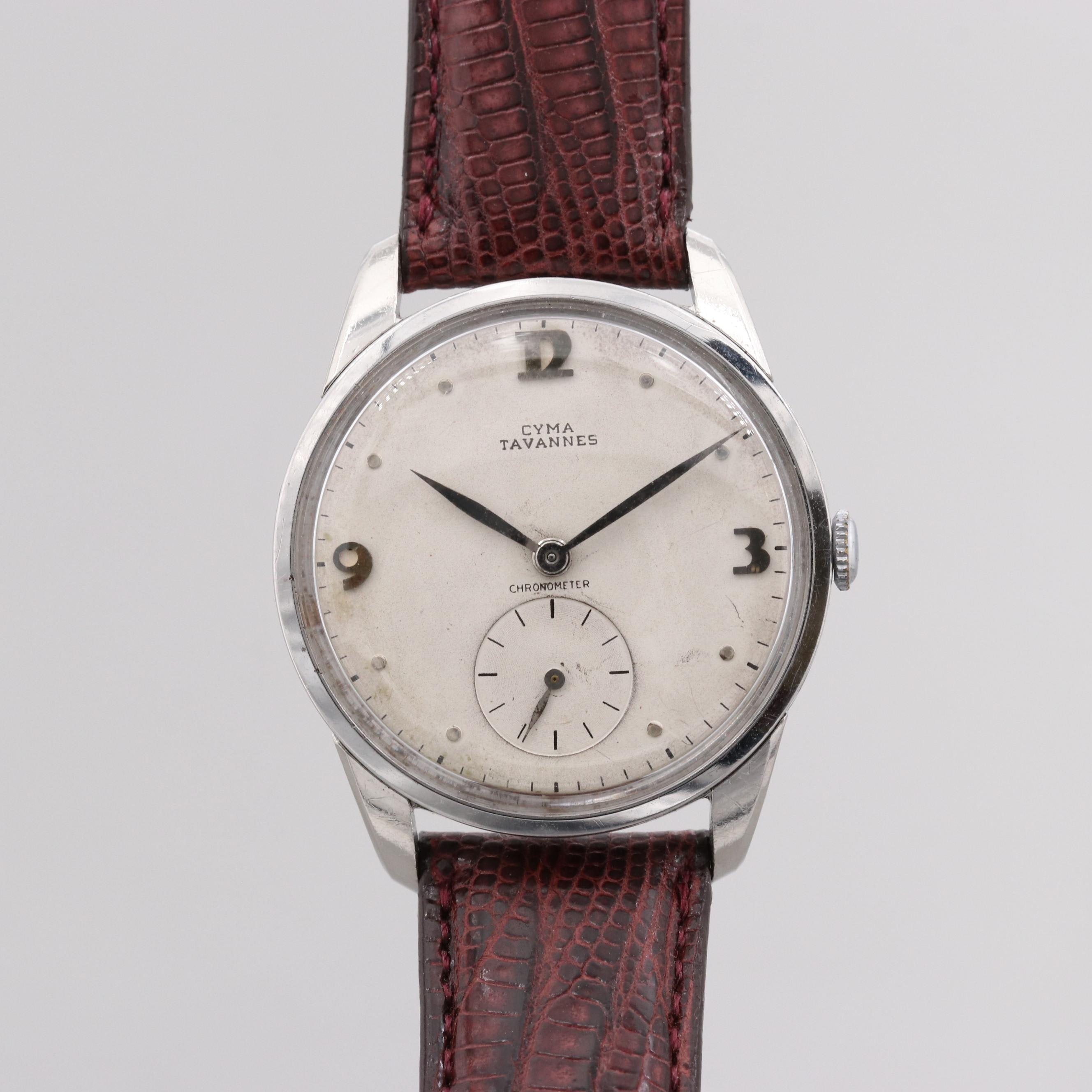 Vintage Cyma Tavannes Stainless Steel Stem Wind Wristwatch