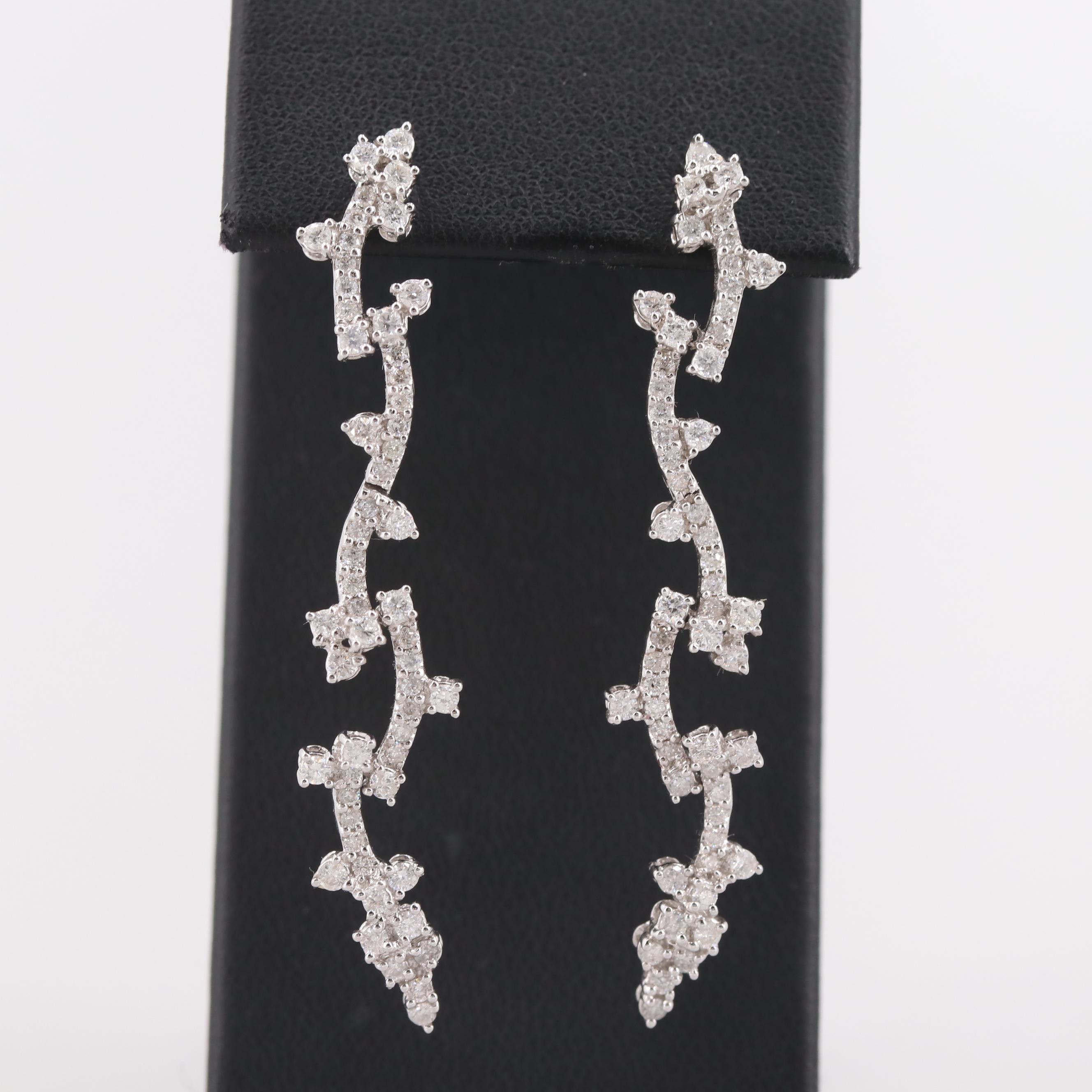 18K White Gold 1.51 CTW Diamond Earrings