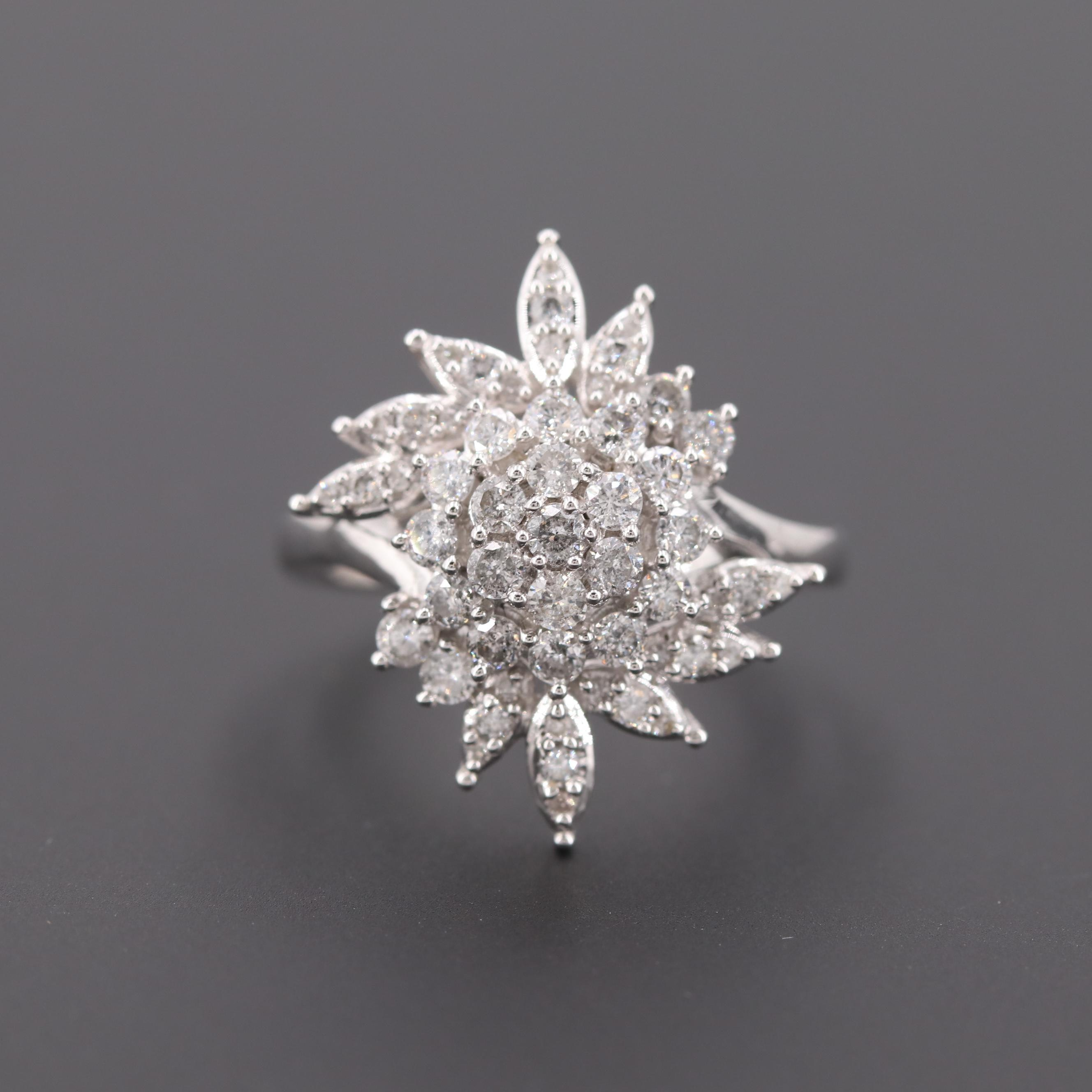 10K White Gold 1.27 CTW Diamond Cluster Ring