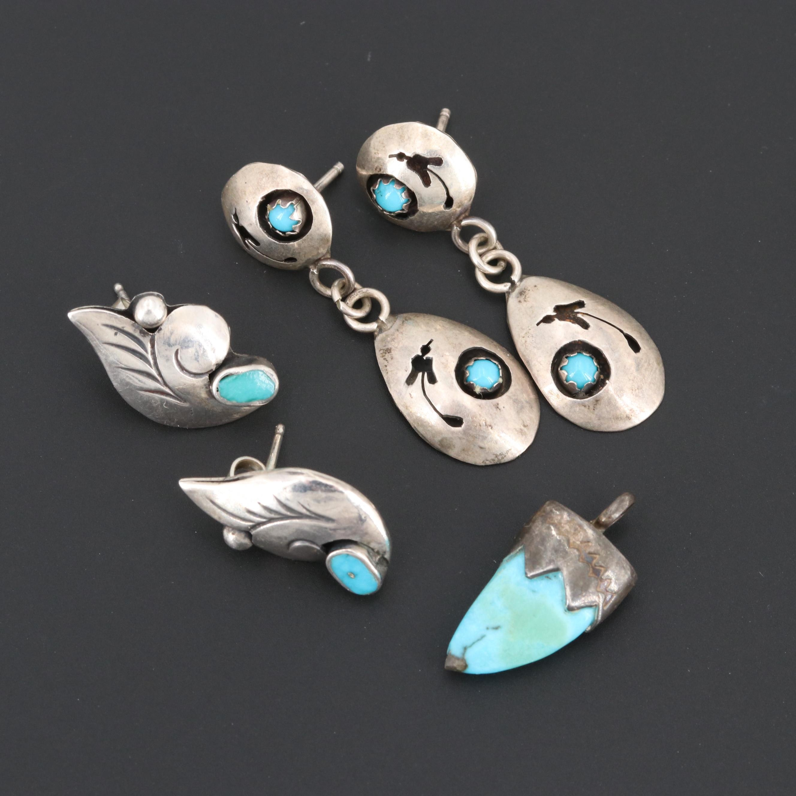 Southwest Sterling Silver Turquoise Earrings and Pendant