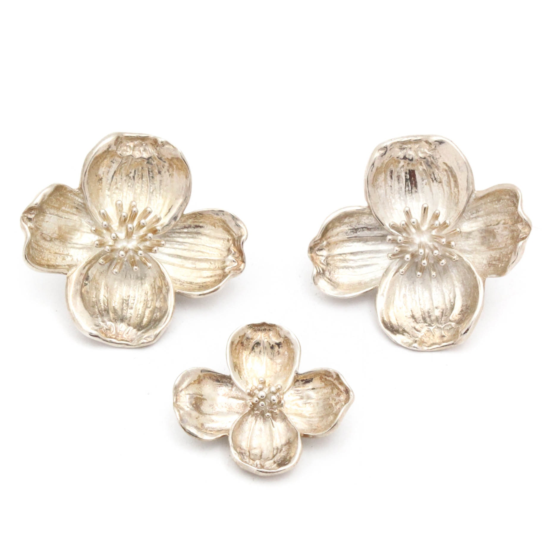 Vintage Tiffany & Co. Sterling Silver Flower Clip Earrings and Brooch