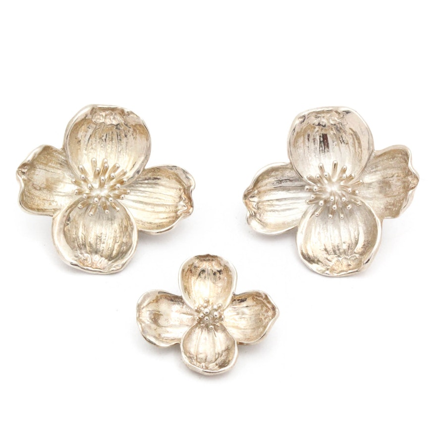Vintage Tiffany Co Sterling Silver Flower Clip Earrings And Brooch