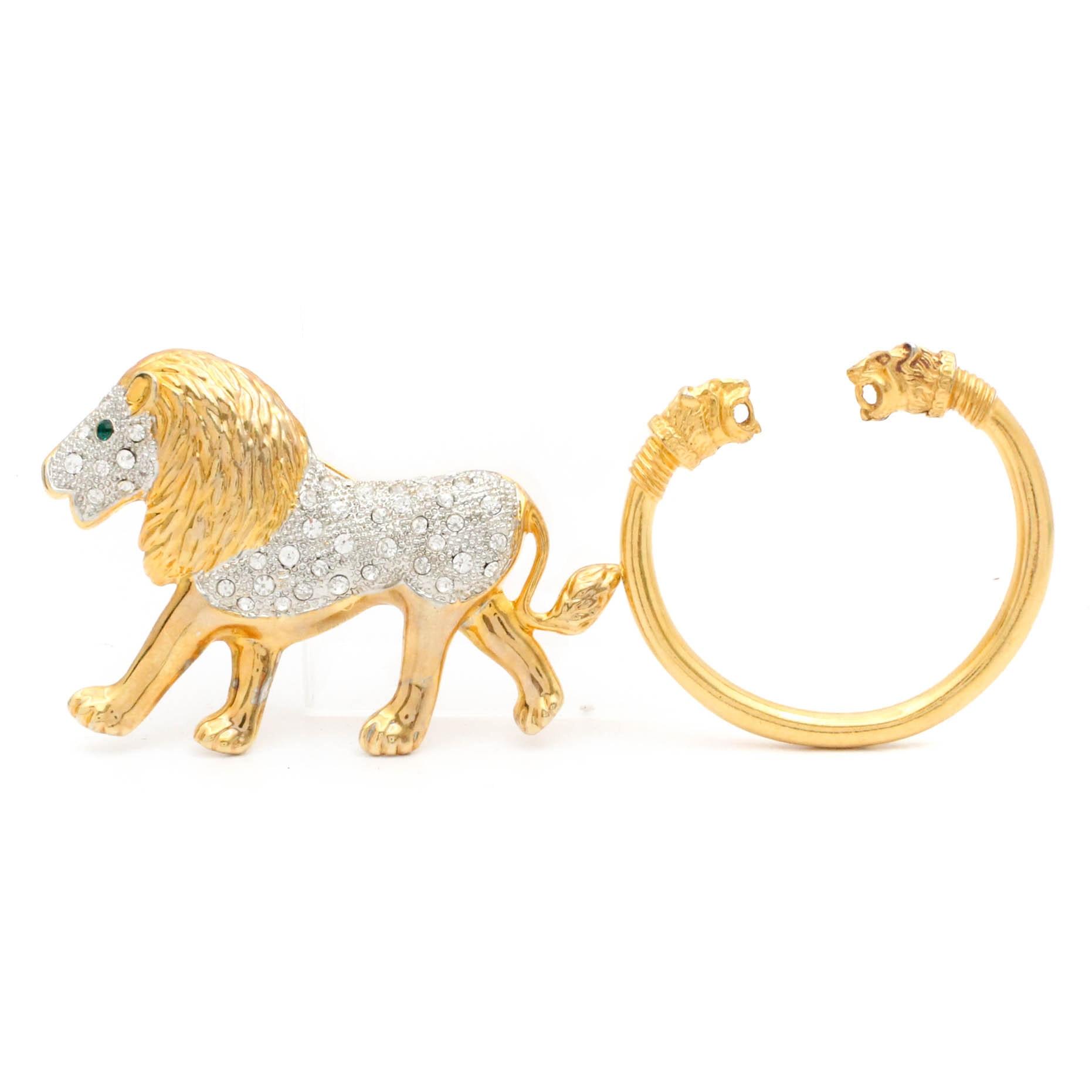 Gold Tone Big Cat Jewelry